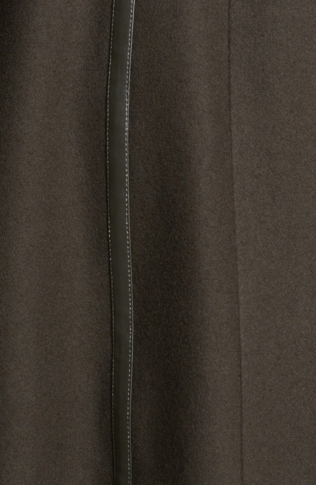 Alternate Image 3  - Vince Camuto Leather Trim Belted Wool Blend Coat