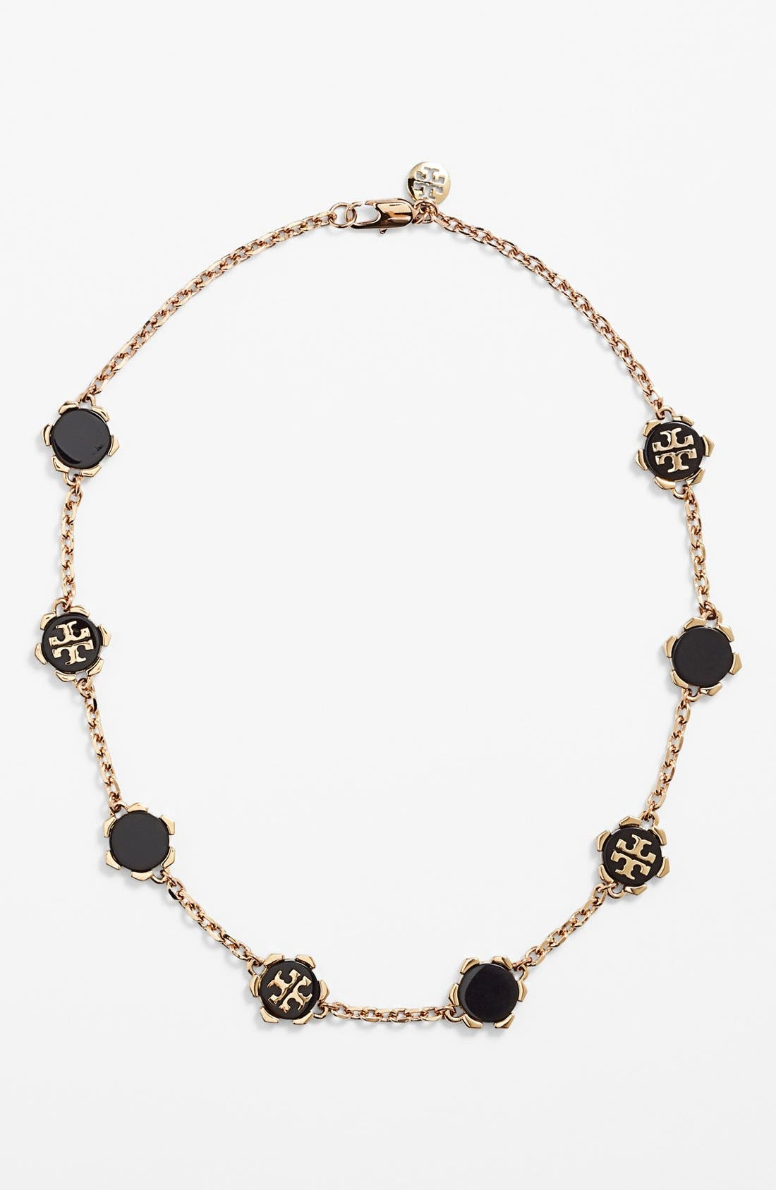 Main Image - Tory Burch 'Walter' Resin Logo Necklace