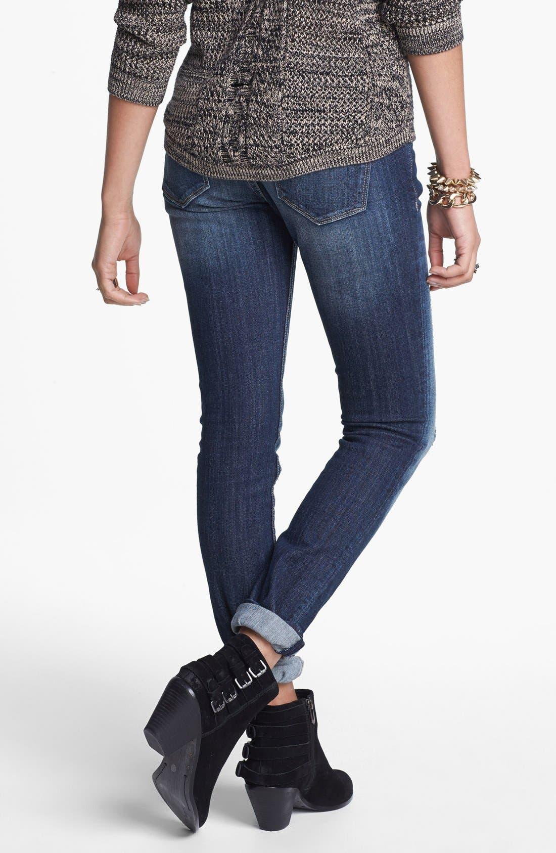 Alternate Image 2  - Vigoss Destroyed Skinny Jeans (Dark) (Juniors)