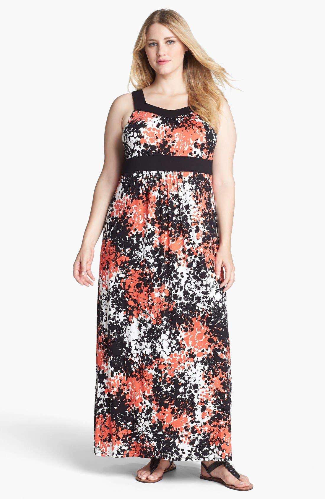 Alternate Image 1 Selected - Evans Print Jersey Maxi Dress (Plus Size)