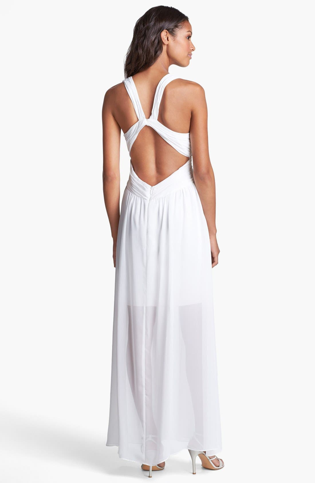 Alternate Image 2  - Hailey by Adrianna Papell Ruched Chiffon Gown