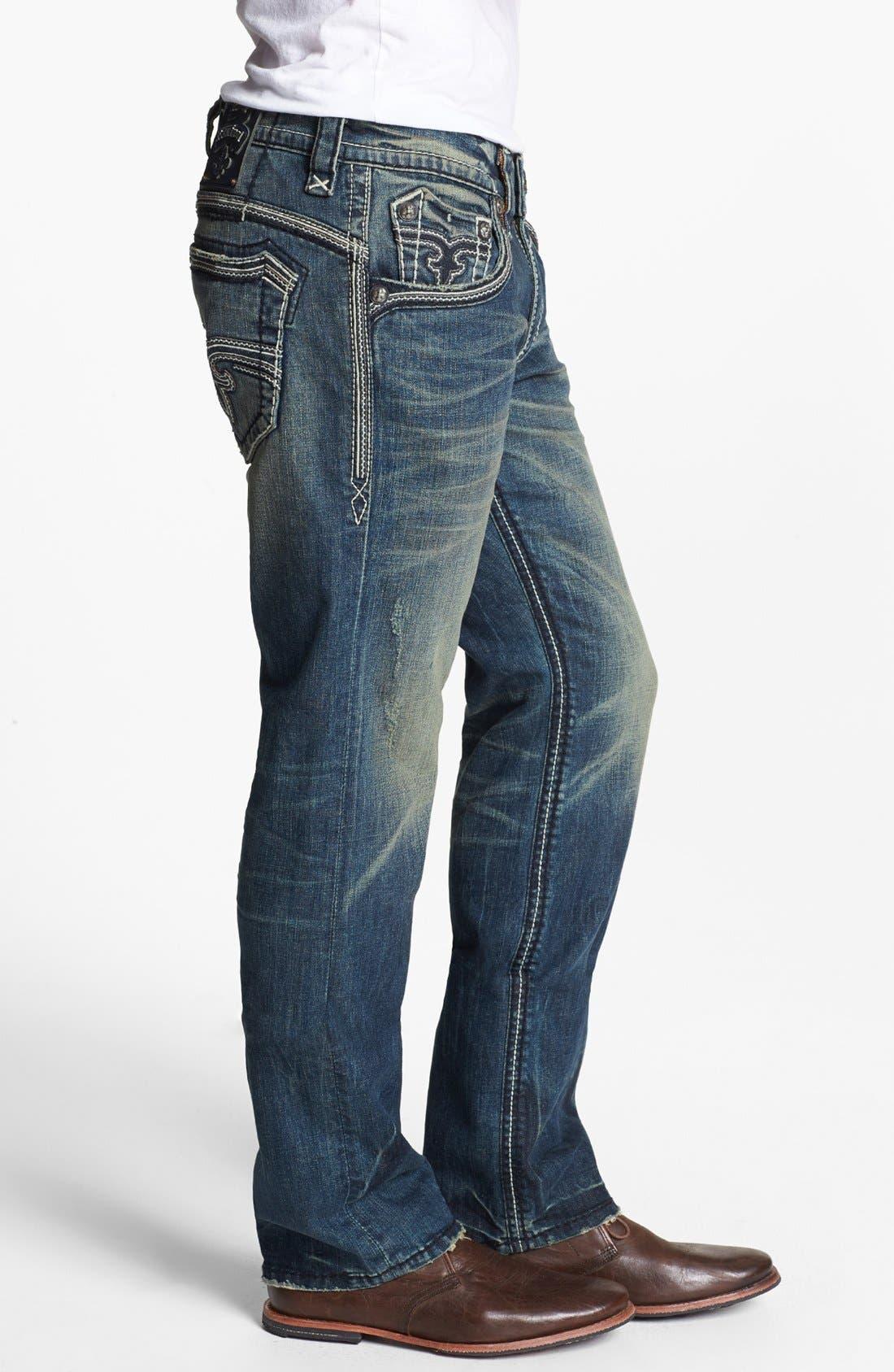 Alternate Image 3  - Rock Revival 'Jonathan' Straight Leg Jeans (Vintage Blue)
