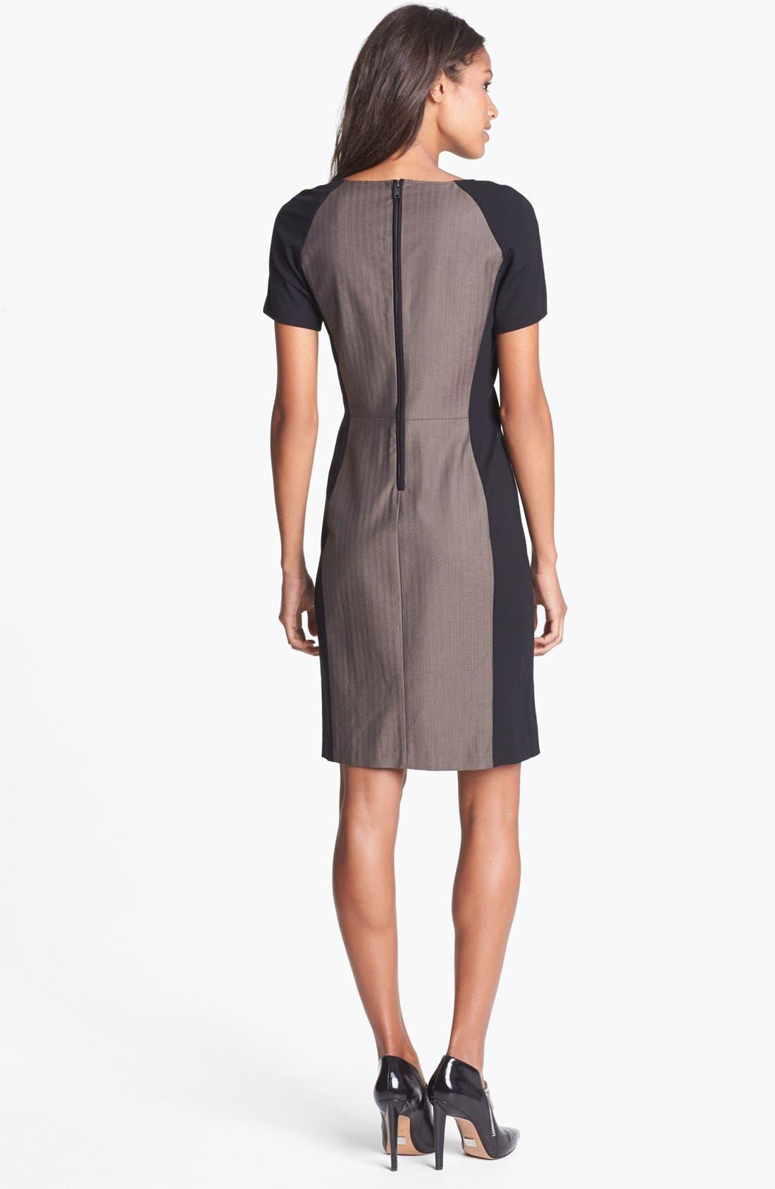 Alternate Image 2  - DKNYC Ponte Inset Herringbone Sheath Dress
