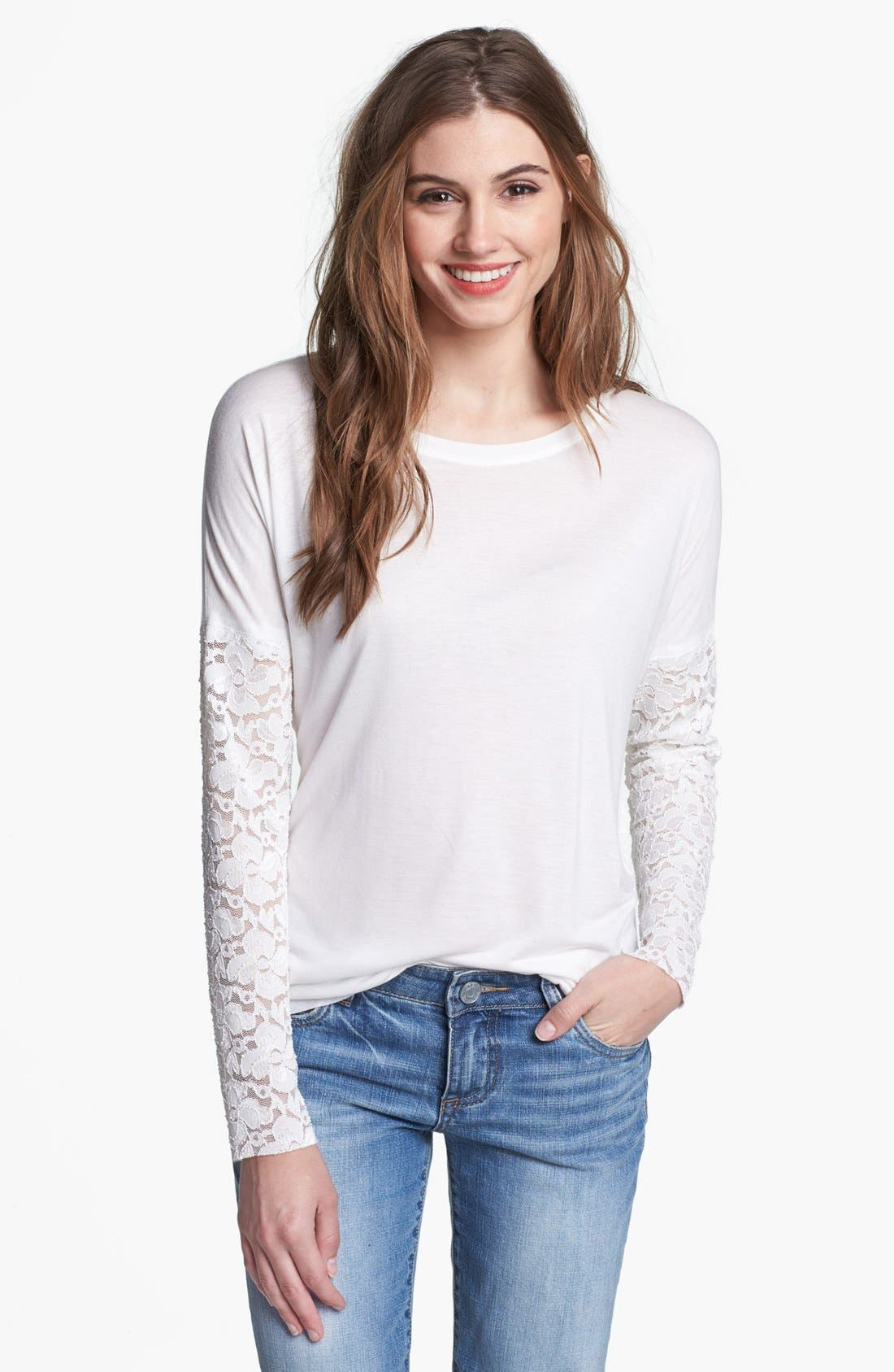 Alternate Image 1 Selected - Max & Mia Drop Shoulder Lace Sleeve Tee