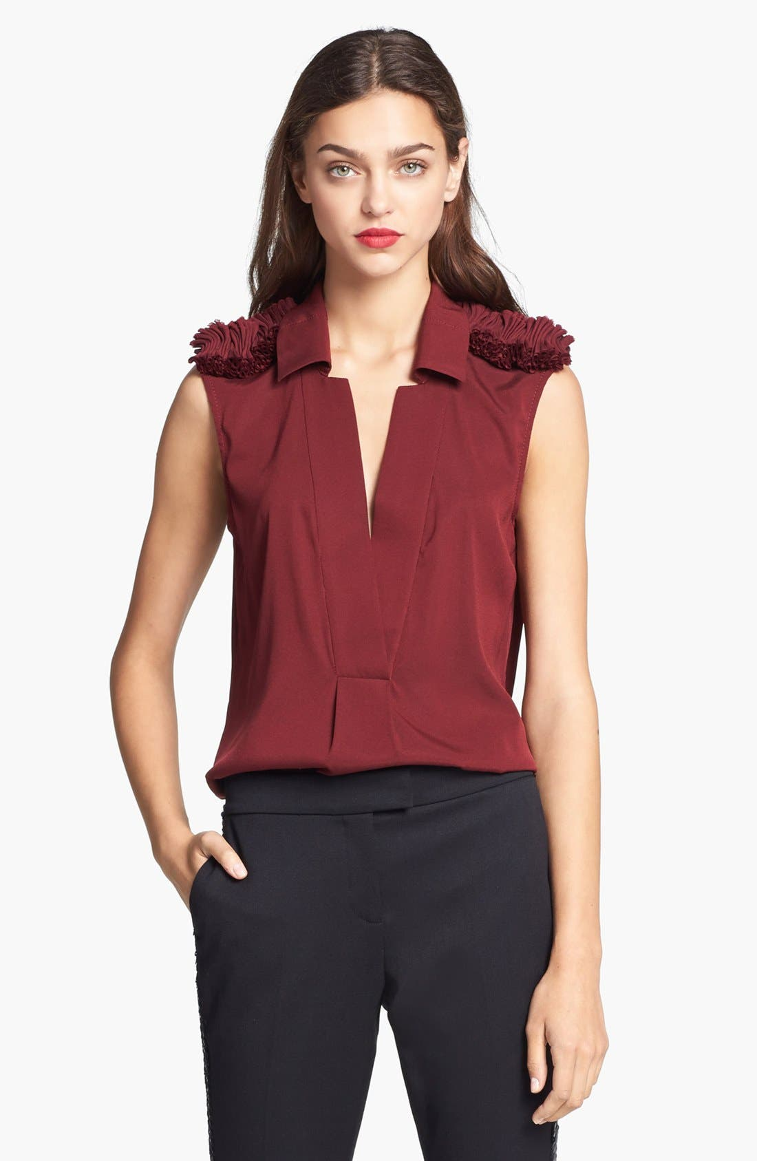 Alternate Image 1 Selected - Rachel Zoe 'Fiona' Ruffled Epaulet Blouse
