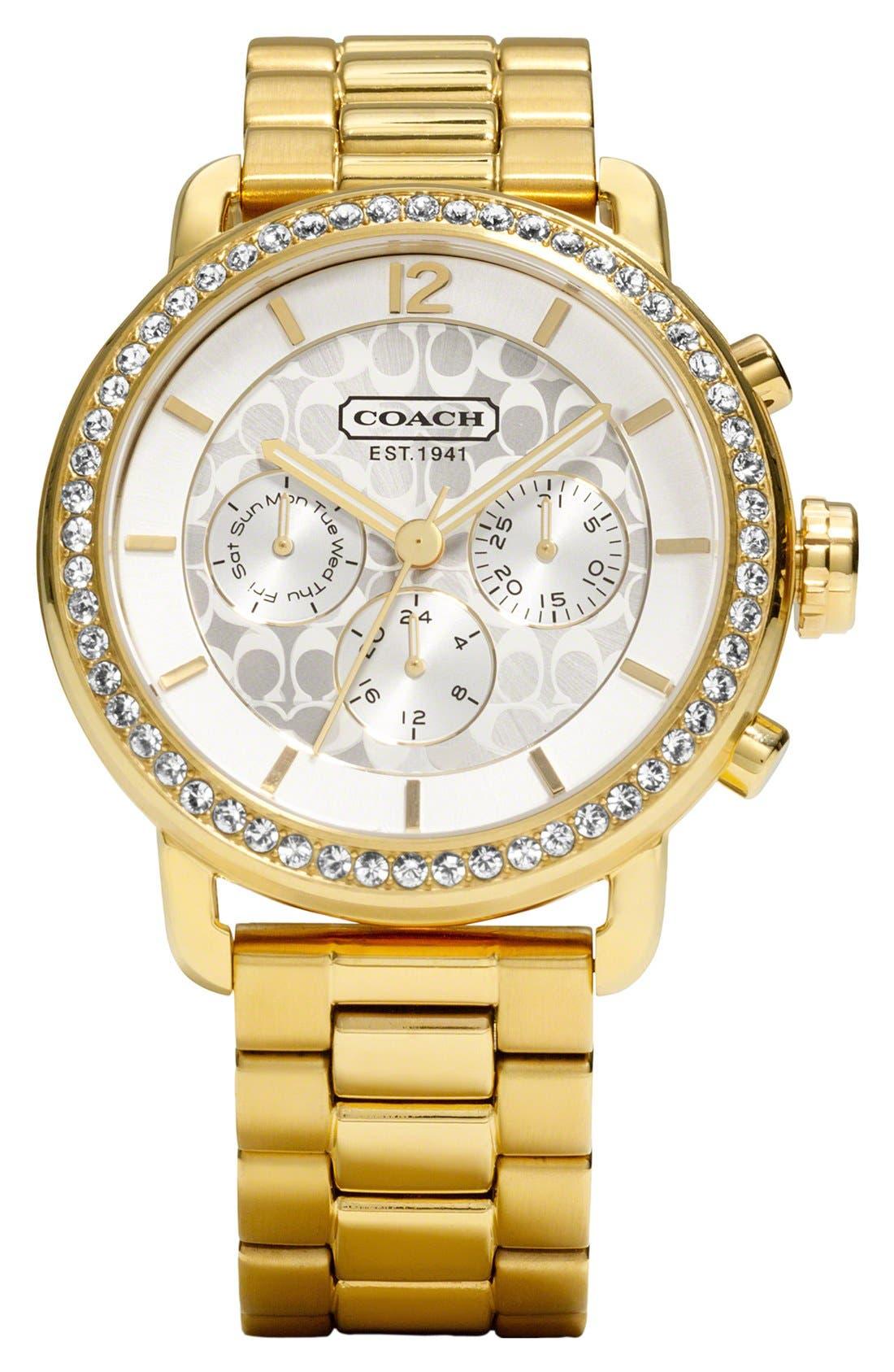 Alternate Image 1 Selected - COACH 'Legacy Sport' Crystal Bezel Bracelet Watch, 42mm