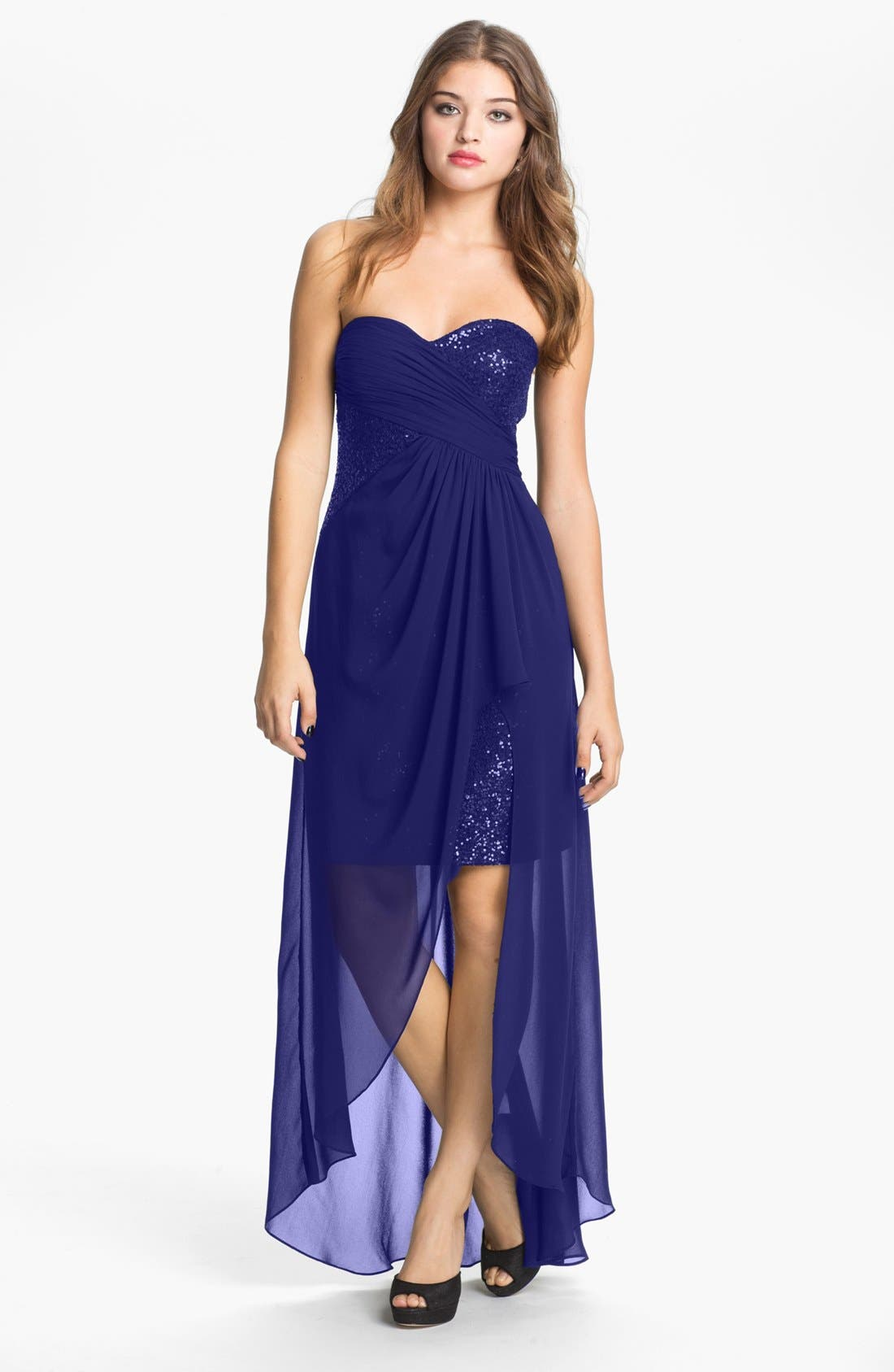 Main Image - Hailey by Adrianna Papell Strapless Sequin Chiffon Overlay Gown (Online Only)