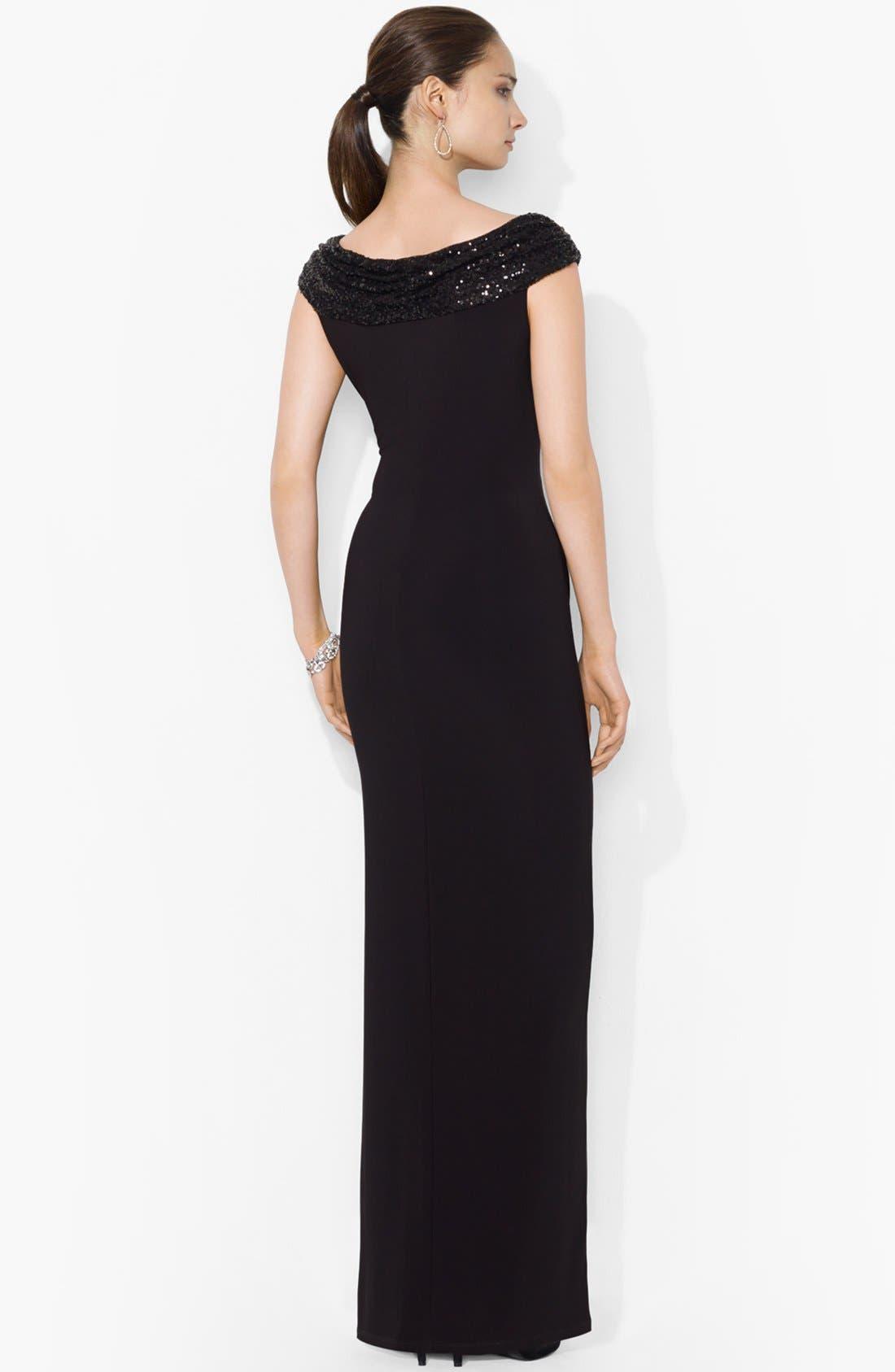Alternate Image 2  - Lauren Ralph Lauren Embellished Jersey Column Gown