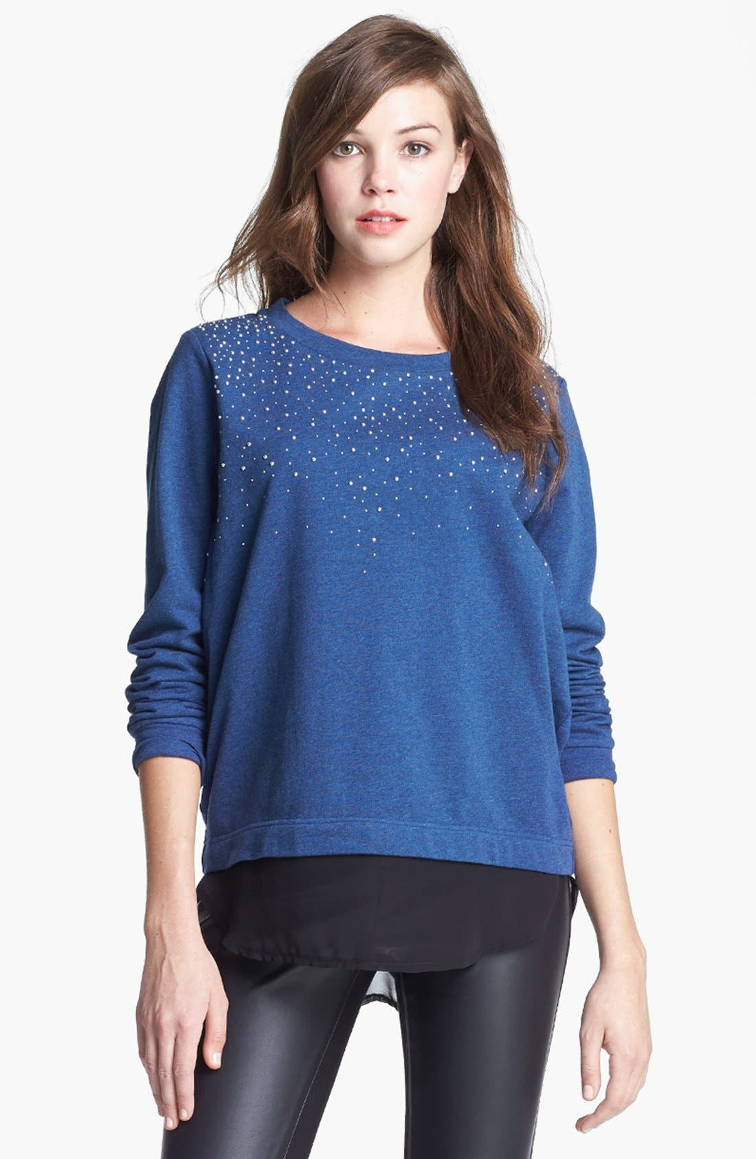 Alternate Image 3  - Two by Vince Camuto Embellished Chiffon Shirttail Sweatshirt
