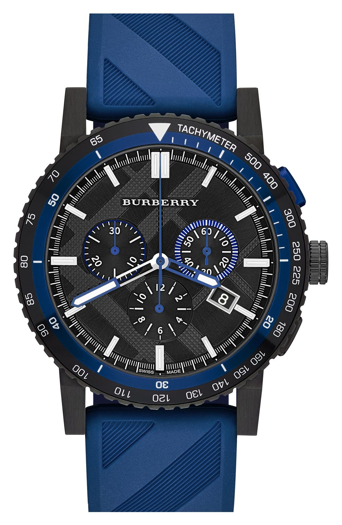 Chronograph Rubber Strap Watch, 42mm,                         Main,                         color, Blue