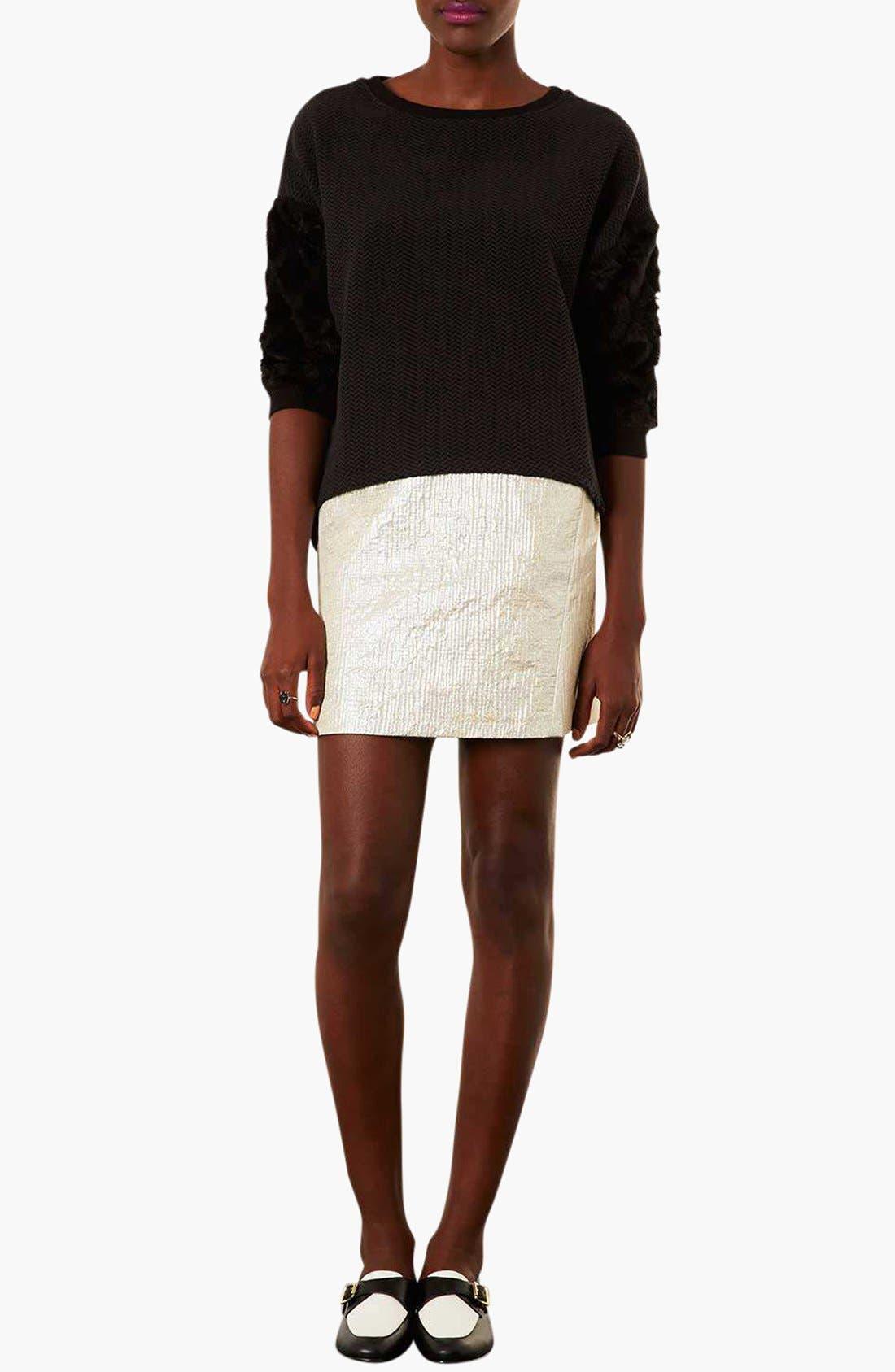Alternate Image 4  - Topshop Faux Fur Sleeve Sweatshirt