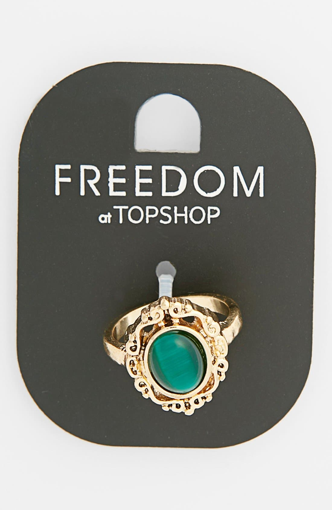 Main Image - Topshop Stone Etched Ring
