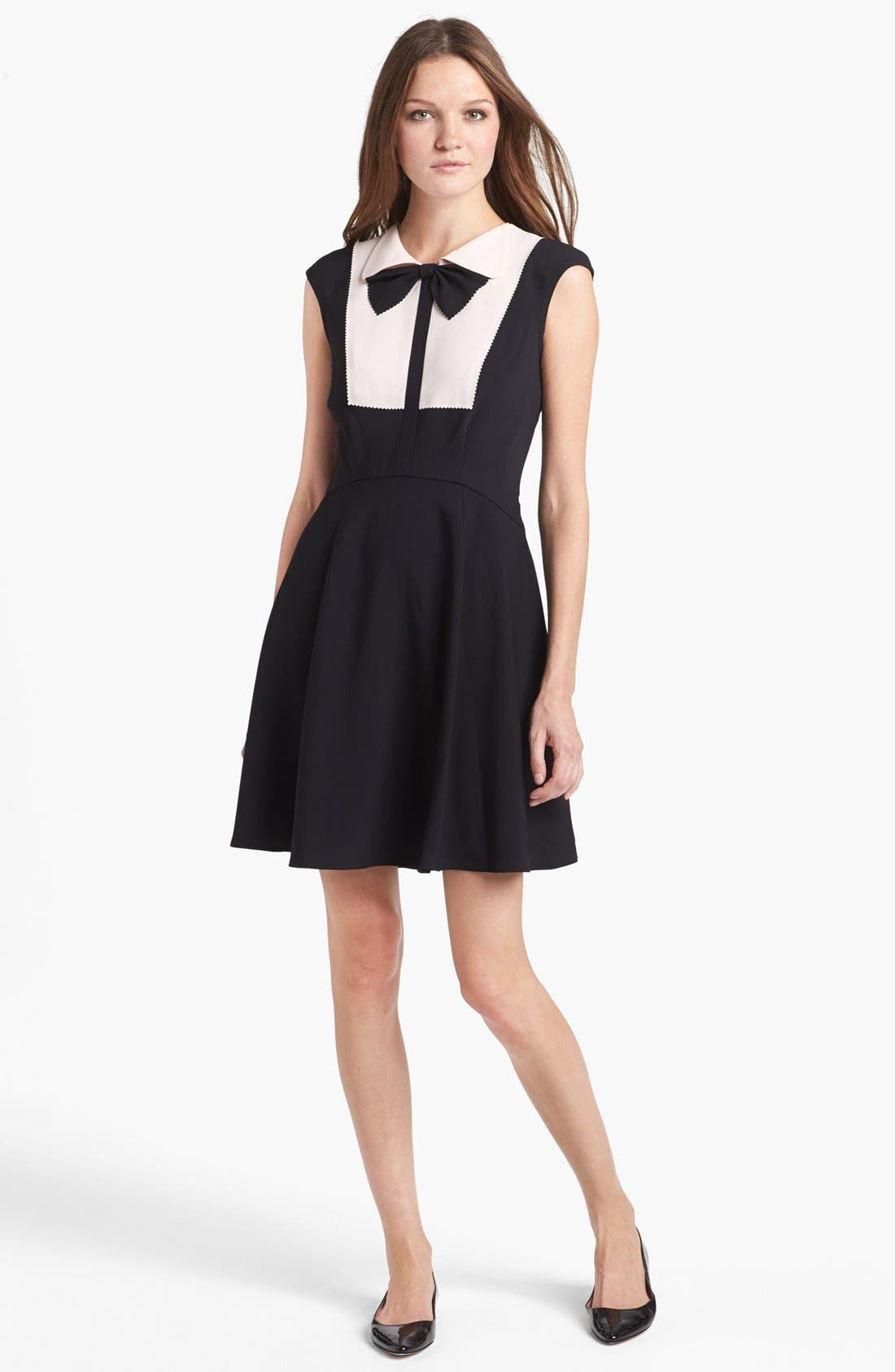 Main Image - Ted Baker London Bow Collar Jersey A-line Dress