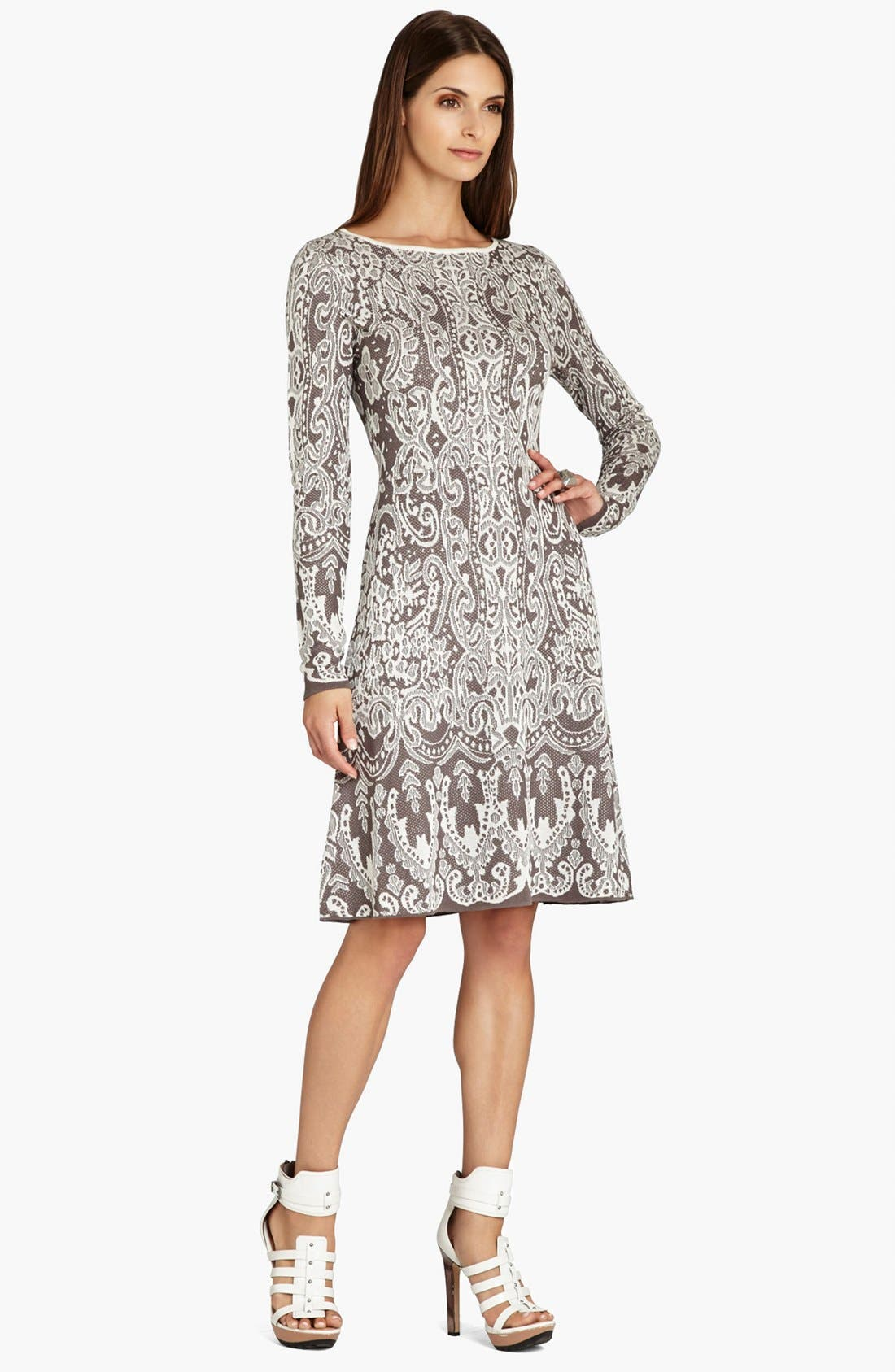 Main Image - BCBGMAXAZRIA Intarsia Jacquard Sweater Dress