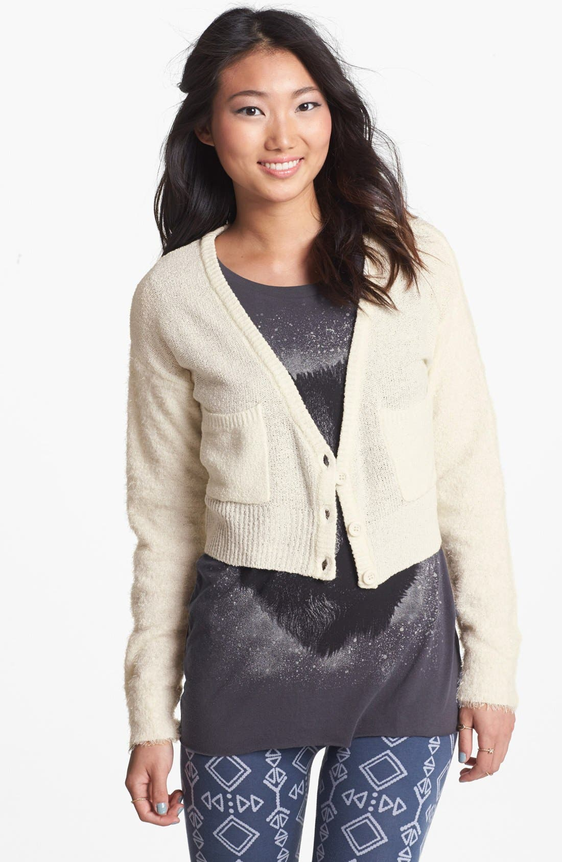 Alternate Image 1 Selected - Love By Design Crop Boyfriend Cardigan (Juniors)