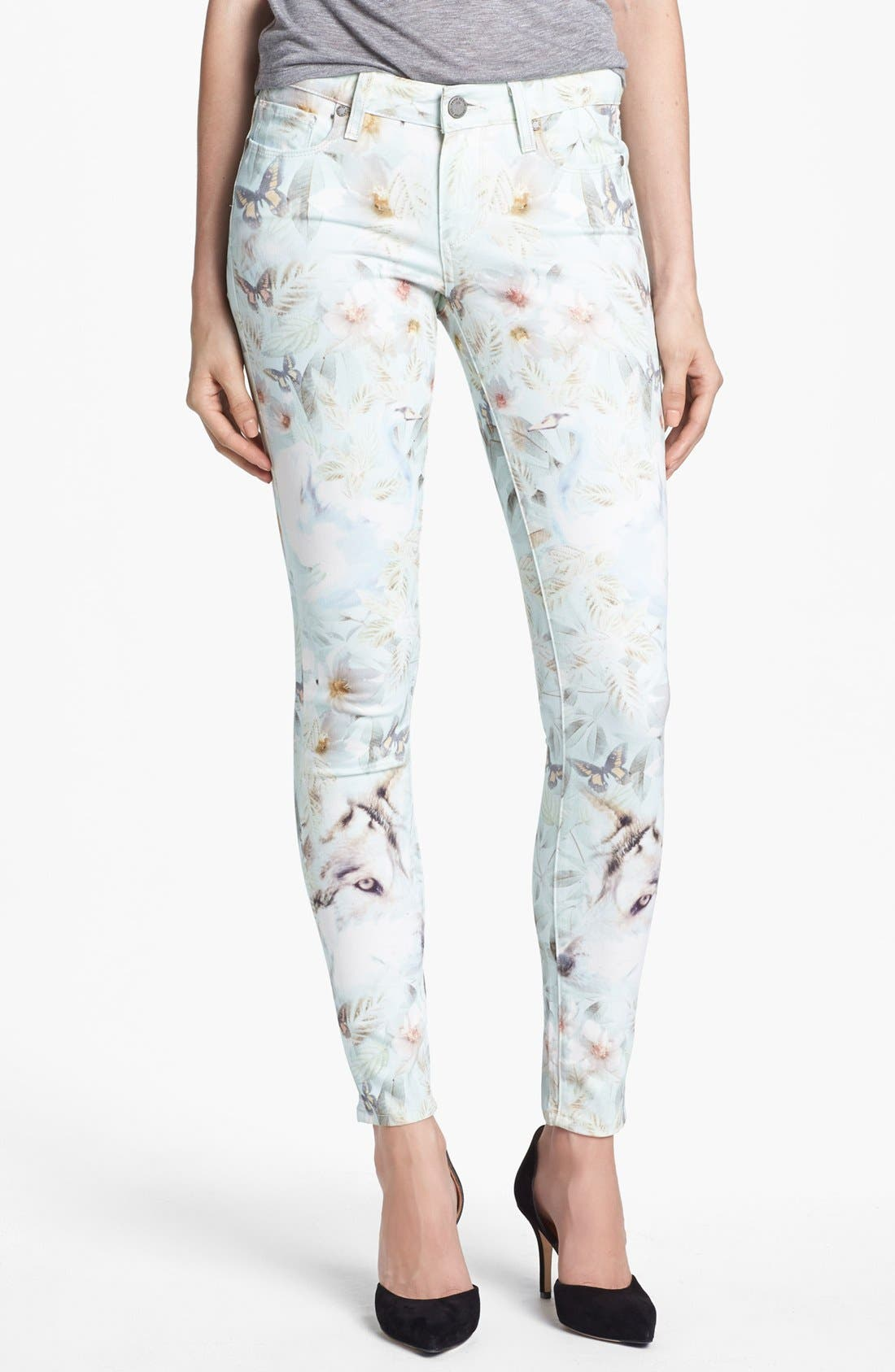 Main Image - Paige Denim 'Verdugo' Print Ultra Skinny Jeans (Grey Wind)