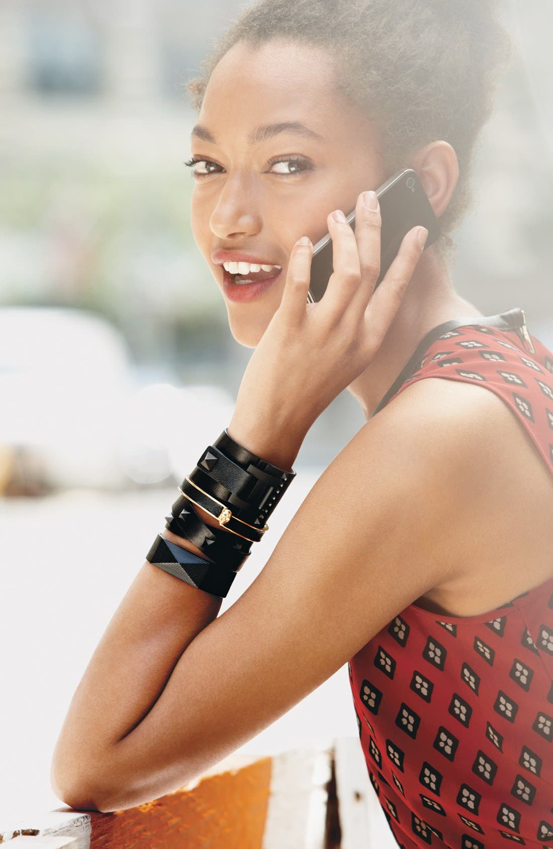 'Tour of Duty' Studded Buckle Wrap Bracelet,                             Alternate thumbnail 3, color,
