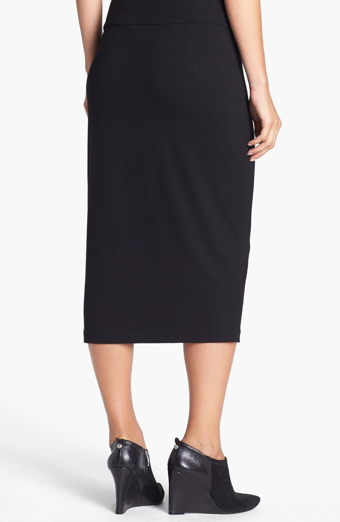 Foldover Waist Straight Skirt,                             Alternate thumbnail 2, color,                             Black