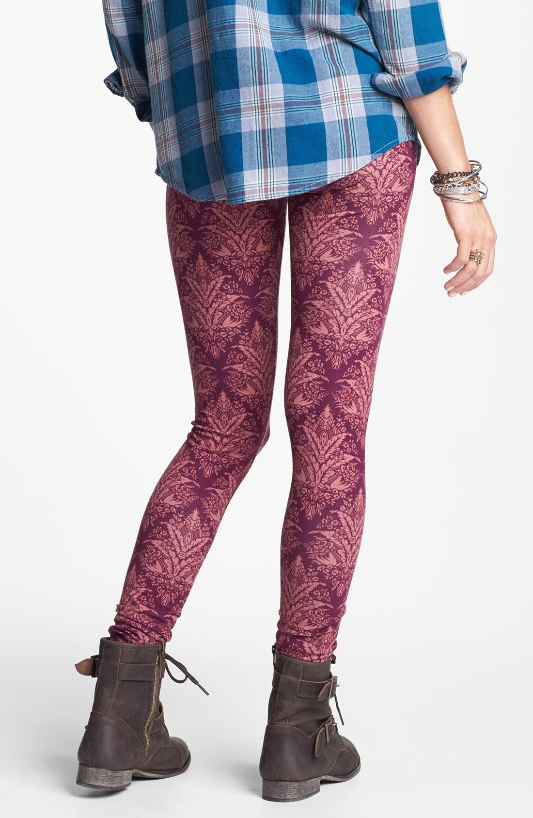 Alternate Image 2  - Threads for Thought Damask Print High Waist Leggings (Juniors)