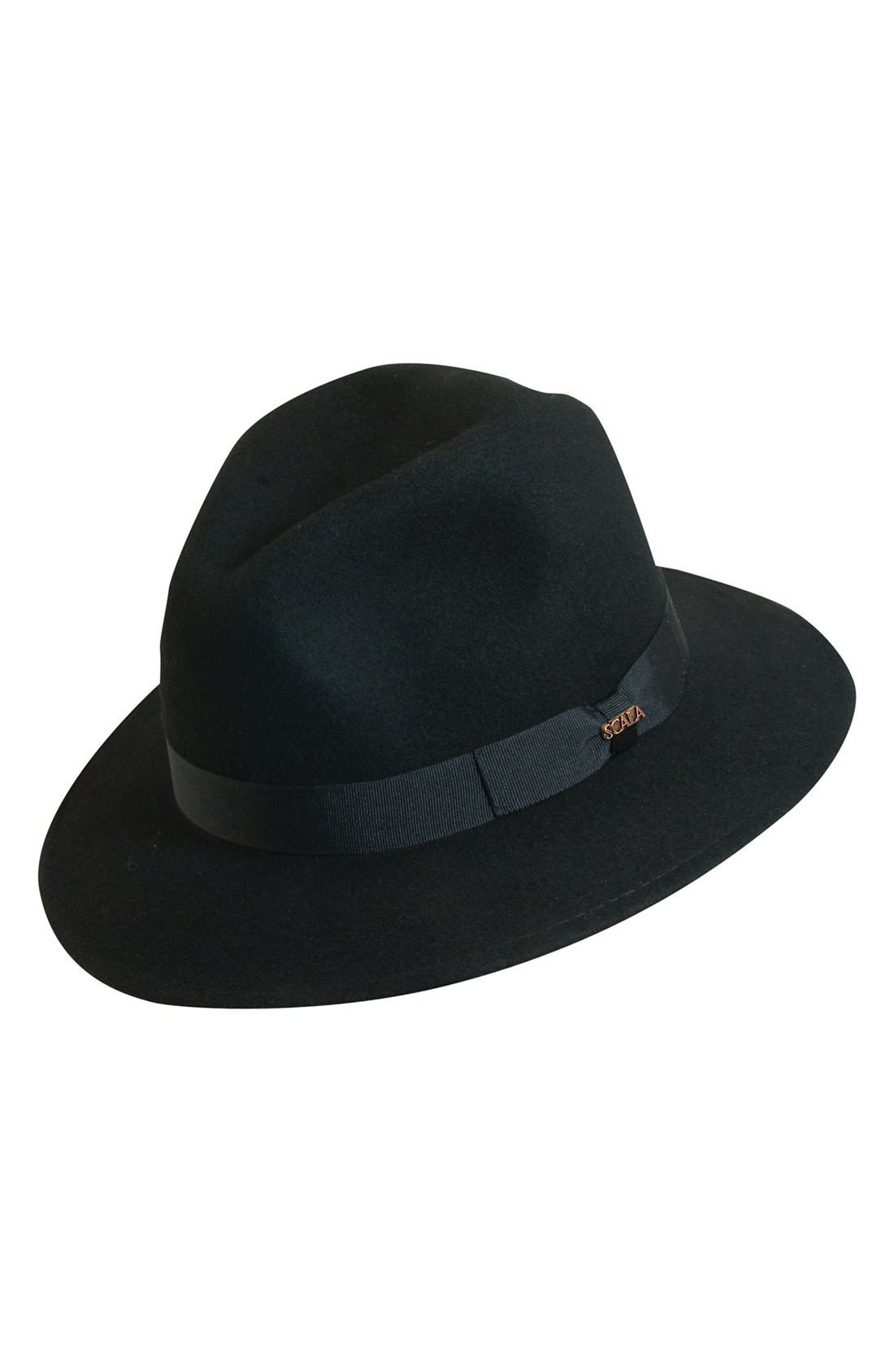 'Classico' Crushable Felt Safari Hat,                             Main thumbnail 1, color,                             Black