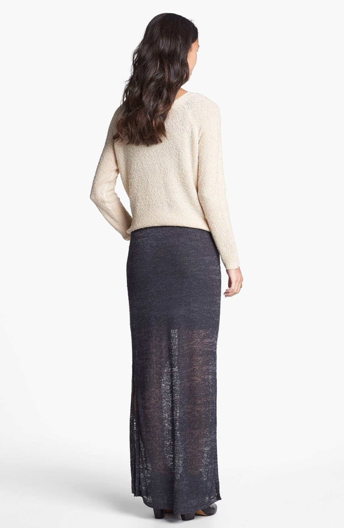Alternate Image 2  - Lily White Burnout Side Slit Maxi Skirt (Juniors)