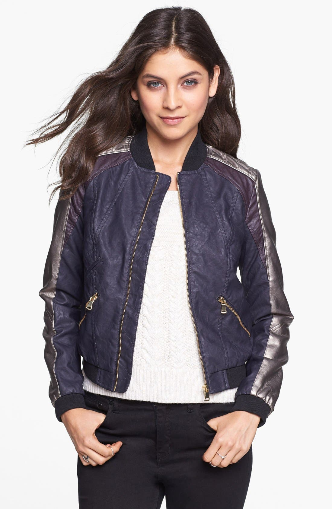 Alternate Image 1 Selected - Collection B Multicolor Faux Leather Bomber Jacket (Juniors)