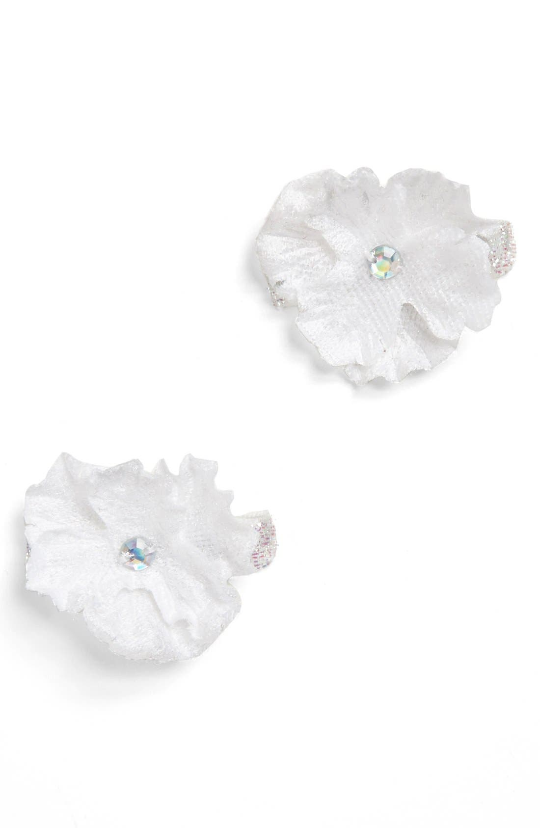 Main Image - PLH Bows & Laces Flower Hair Clips (Set of 2) (Baby Girls)