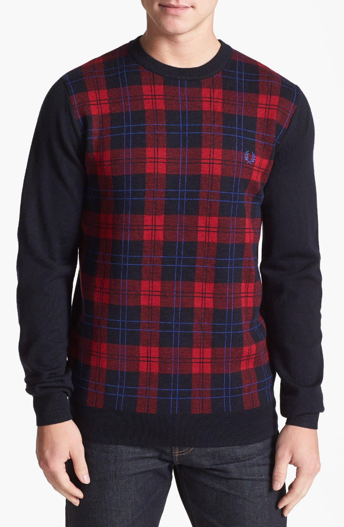 Main Image - Fred Perry Plaid Crewneck Sweater