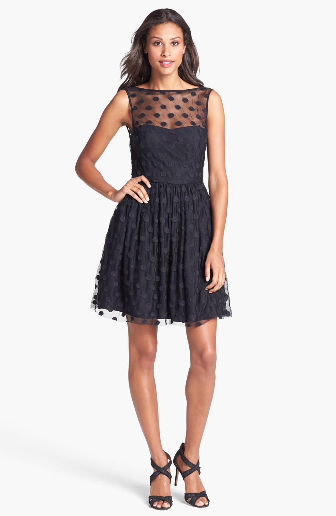 Main Image - Jill Jill Stuart Polka Dot Mesh Fit & Flare Dress