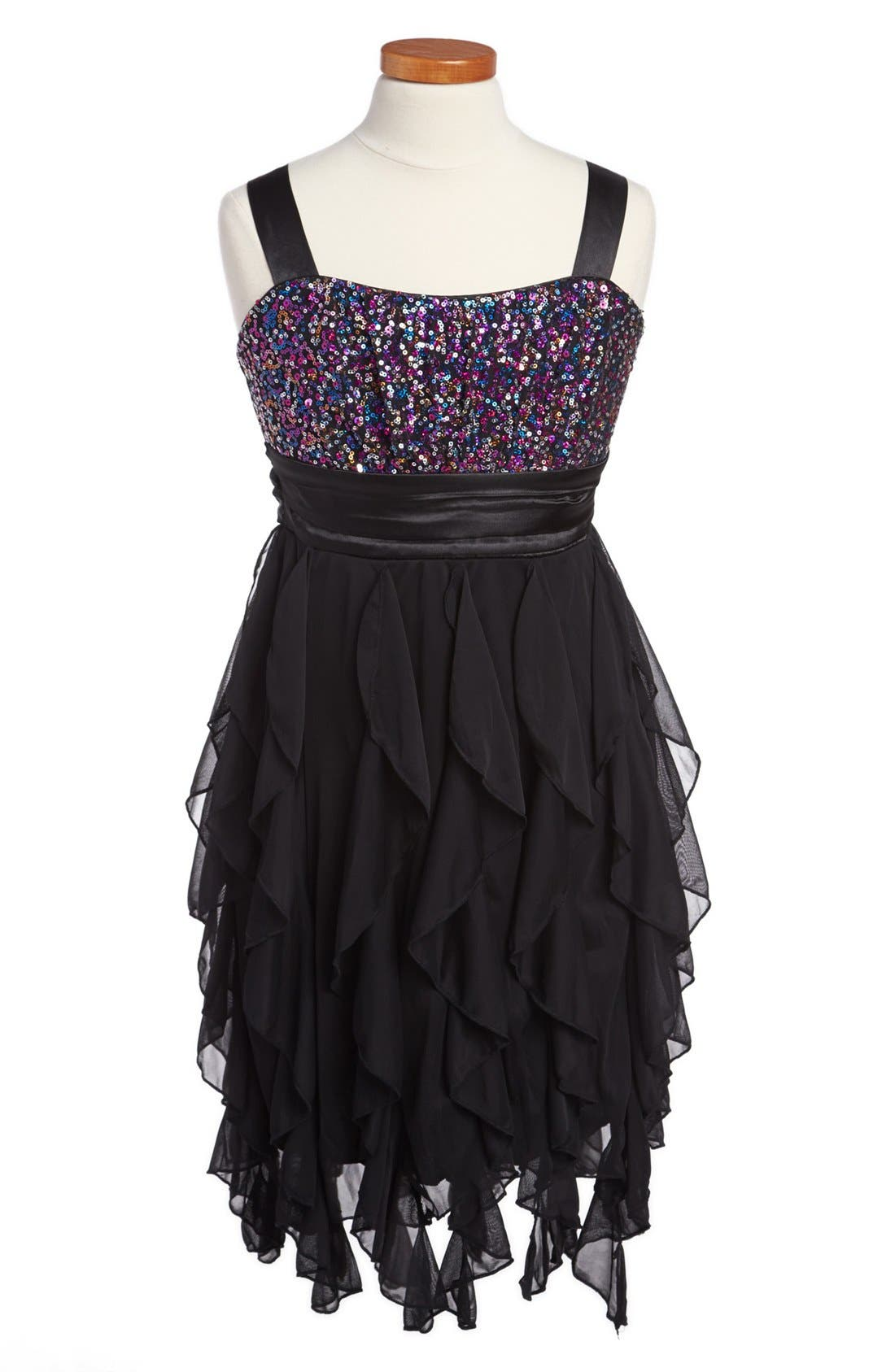 Alternate Image 1 Selected - Roxette Sequin Corkscrew Dress (Big Girls)