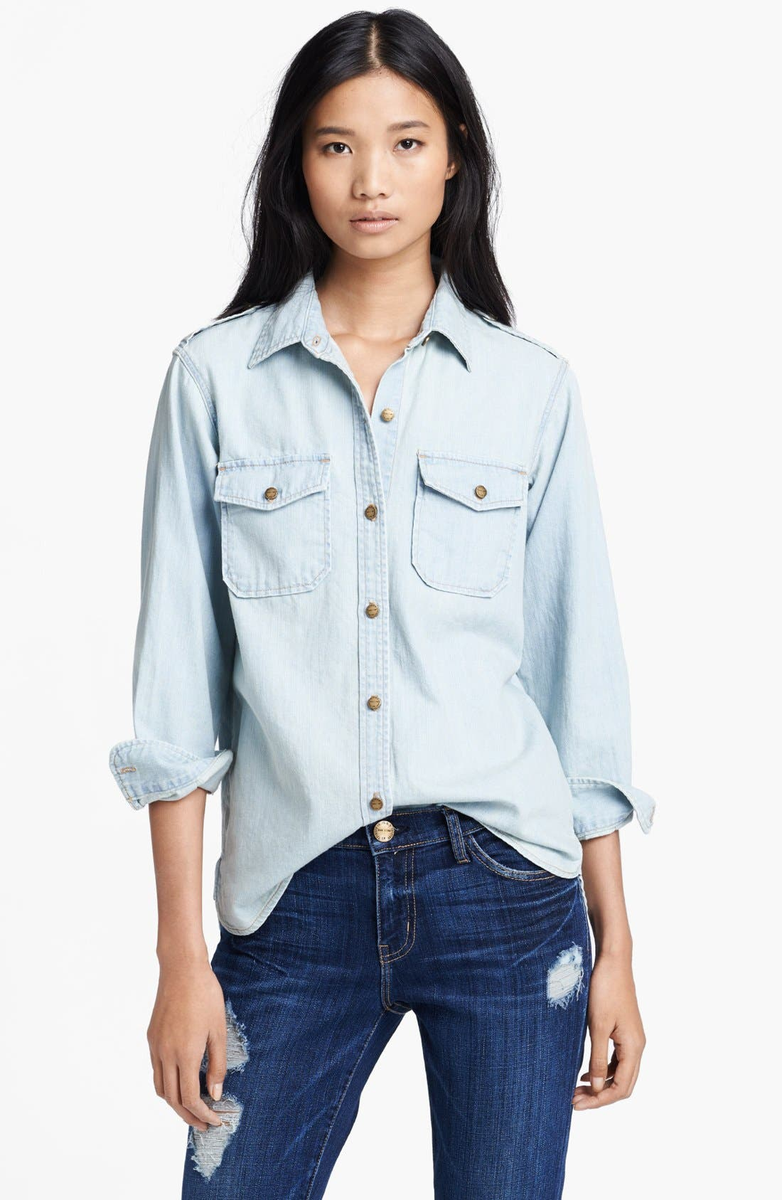 Alternate Image 1 Selected - Current/Elliott 'The Perfect' Button Front Denim Shirt
