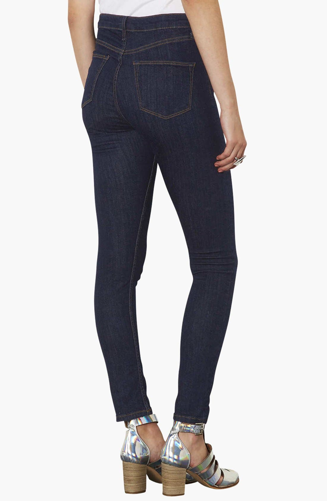Alternate Image 2  - Topshop Moto 'Jamie' High Rise Skinny Jeans (Blue) (Regular, Short & Long)
