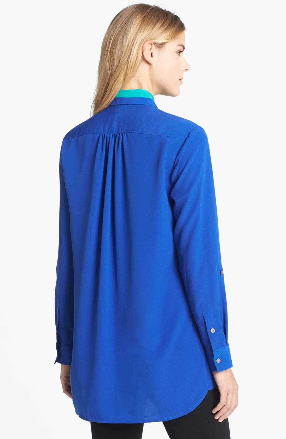 Alternate Image 2  - Two by Vince Camuto Colorblock Roll Tab Sleeve Blouse
