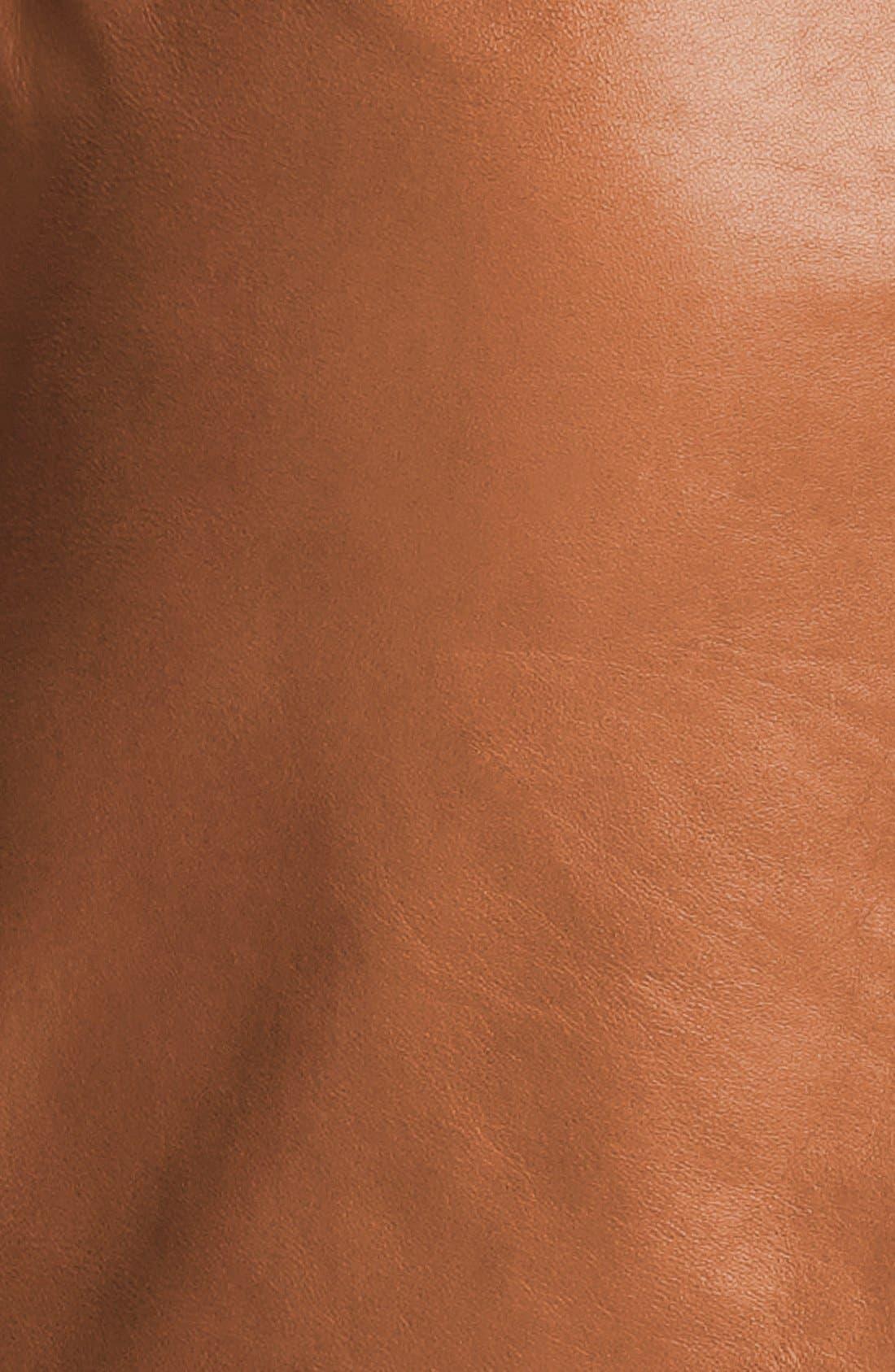 Alternate Image 3  - Halogen® Zip Pocket Leather Skirt (Petite)