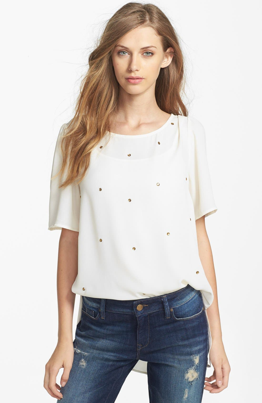 Alternate Image 1 Selected - Bobeau Embellished Front Tee