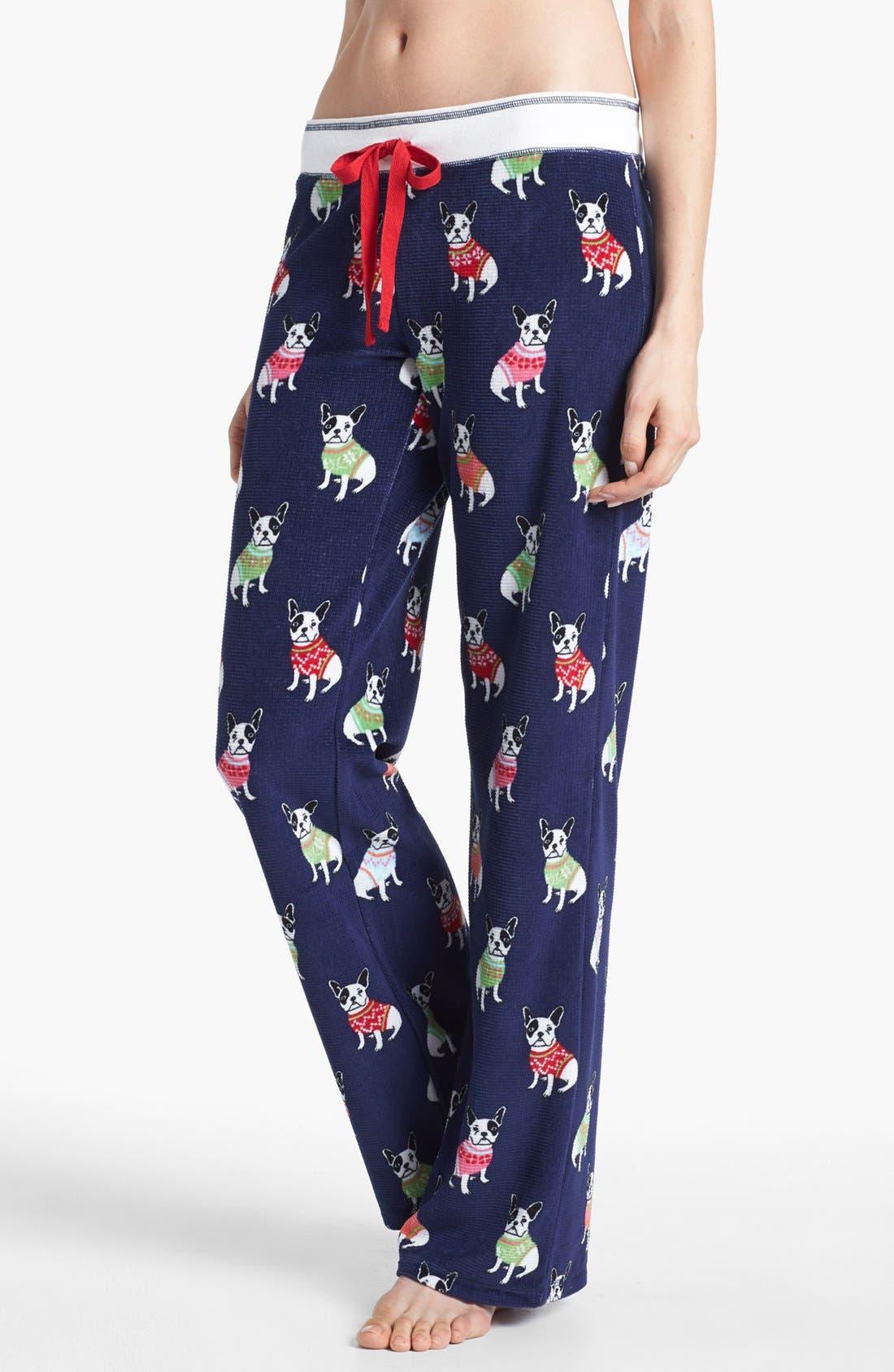 Print Thermal Pajama Pants,                         Main,                         color, Navy Print
