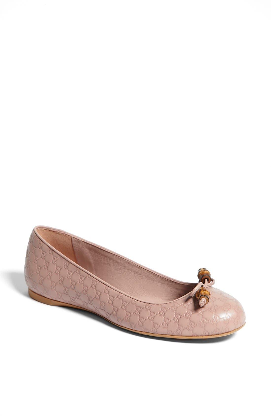 Alternate Image 1 Selected - Gucci 'Sylvie' Bamboo Bow Ballet Flat