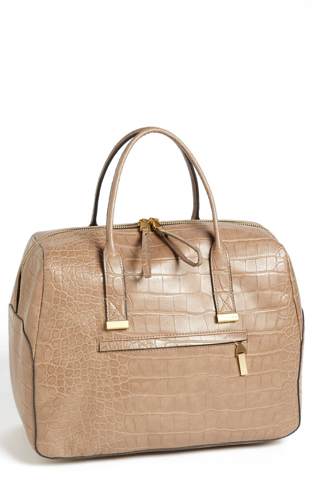 Main Image - French Connection 'Animal Mania' Croc Embossed Faux Leather Satchel