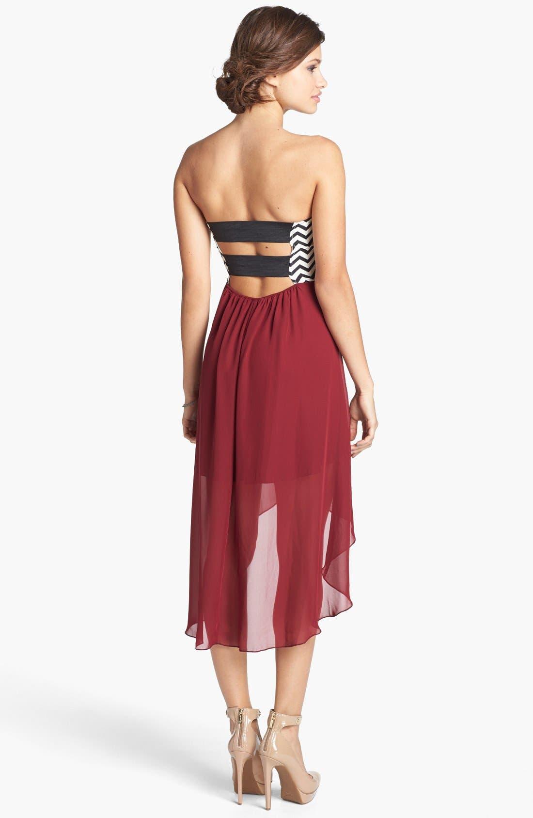 Alternate Image 2  - Trixxi Chevron Bodice High/Low Dress (Juniors) (Online Only)