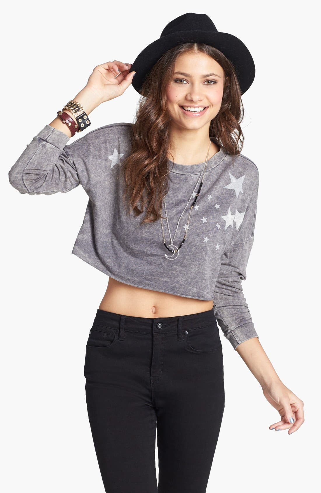 Alternate Image 1 Selected - JC Fits Star Crop Top (Juniors) (Online Only)