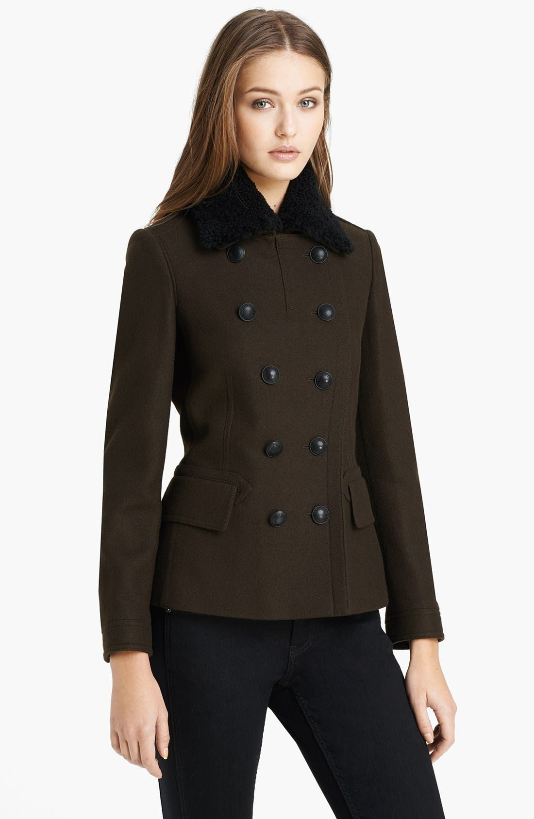Main Image - Burberry Brit 'Warneton' Shearling Collar Coat