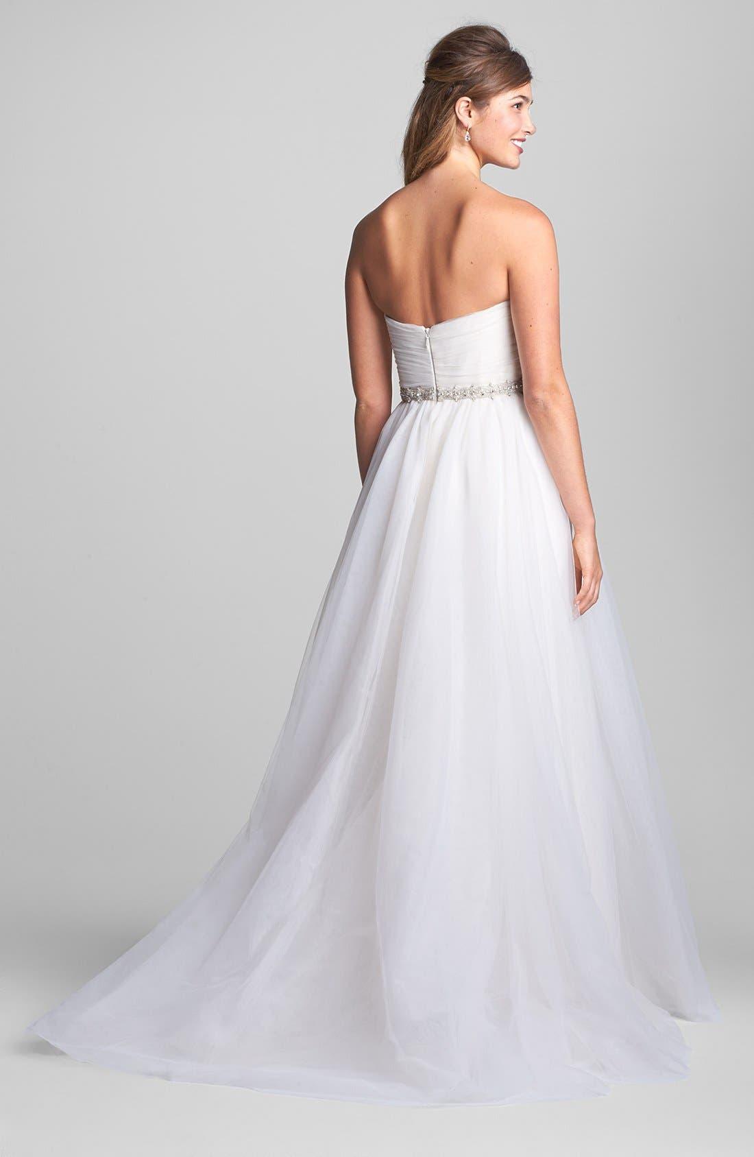 Alternate Image 2  - nouvelle AMSALE Embellished Waist Flared Tulle Gown