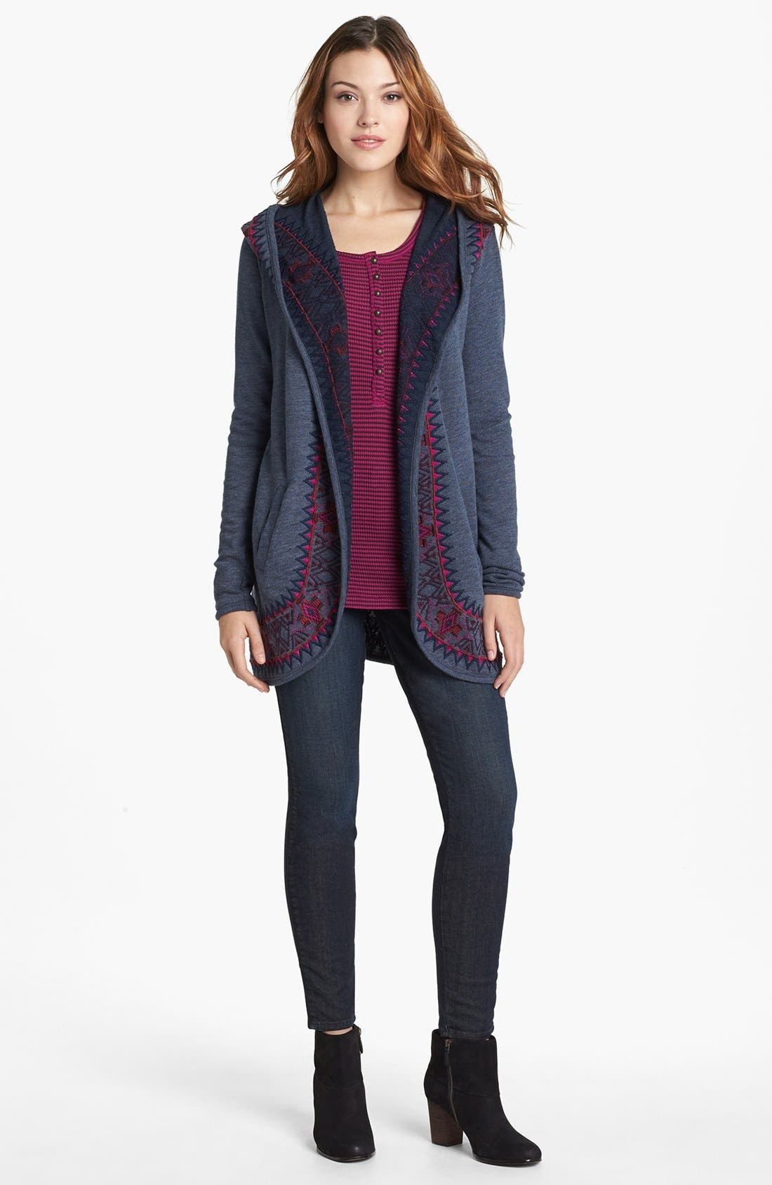 Alternate Image 1 Selected - Lucky Brand 'Sofia' Tuxedo Piped Skinny Jeans (Cullowhee)