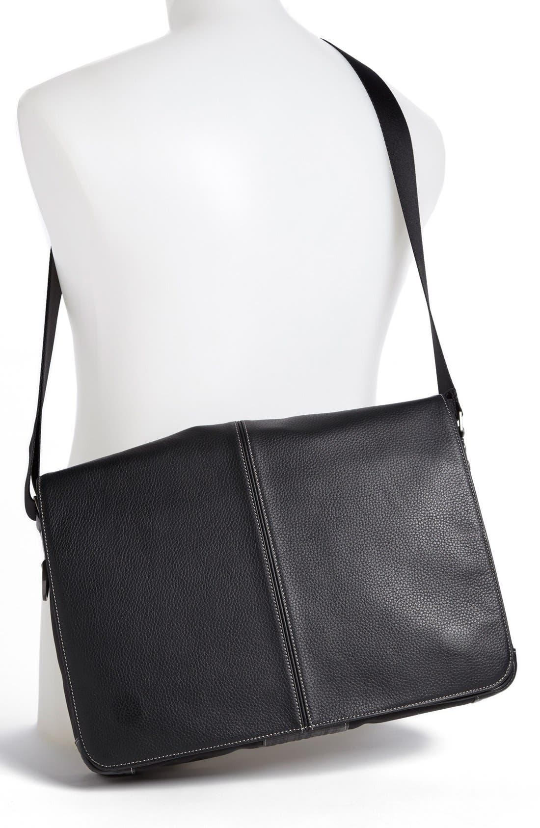 Tyler Slim Leather Laptop Briefcase,                             Alternate thumbnail 2, color,                             Black/ Khaki