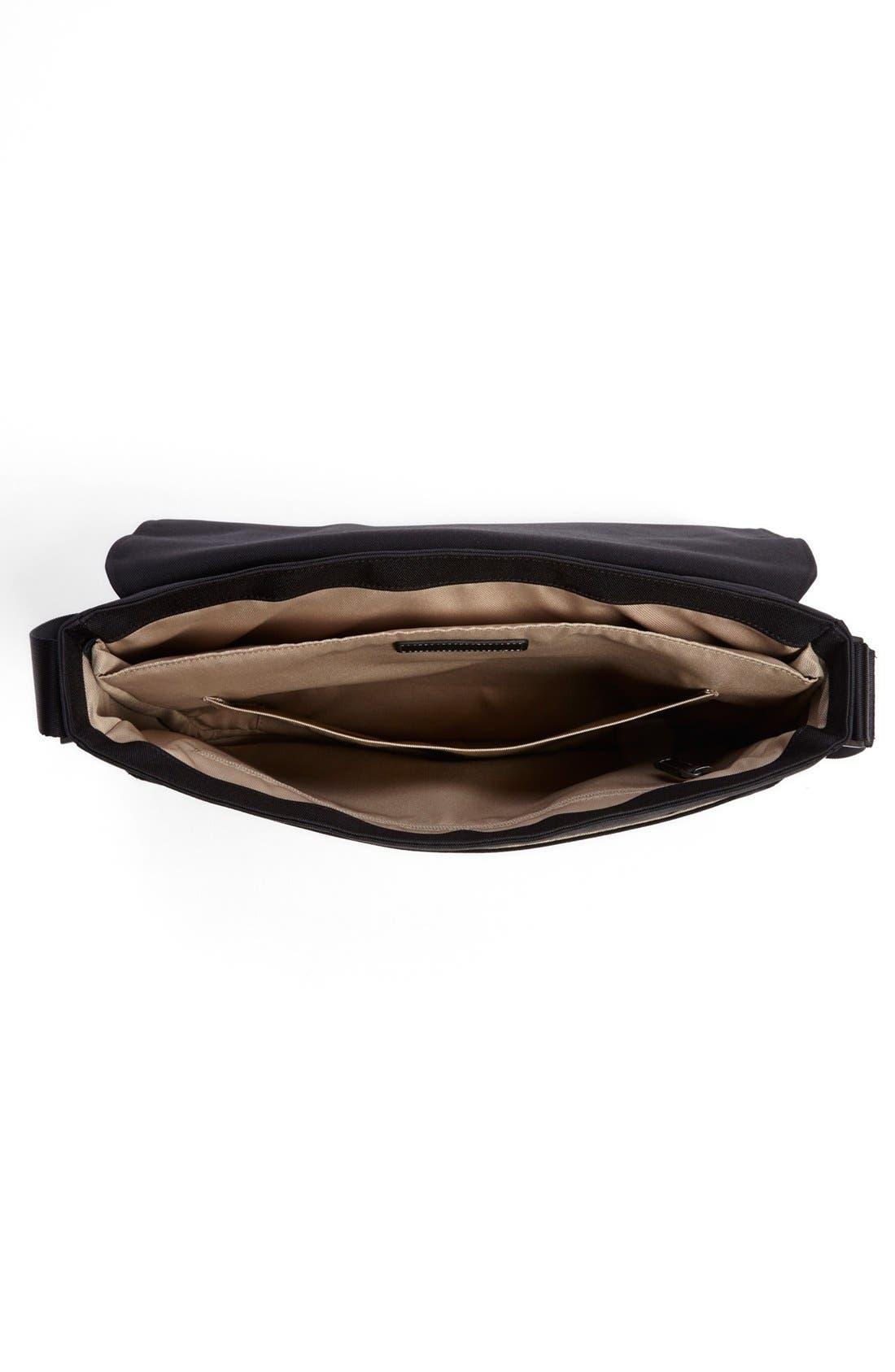 Tyler Slim Leather Laptop Briefcase,                             Alternate thumbnail 4, color,                             Black/ Khaki