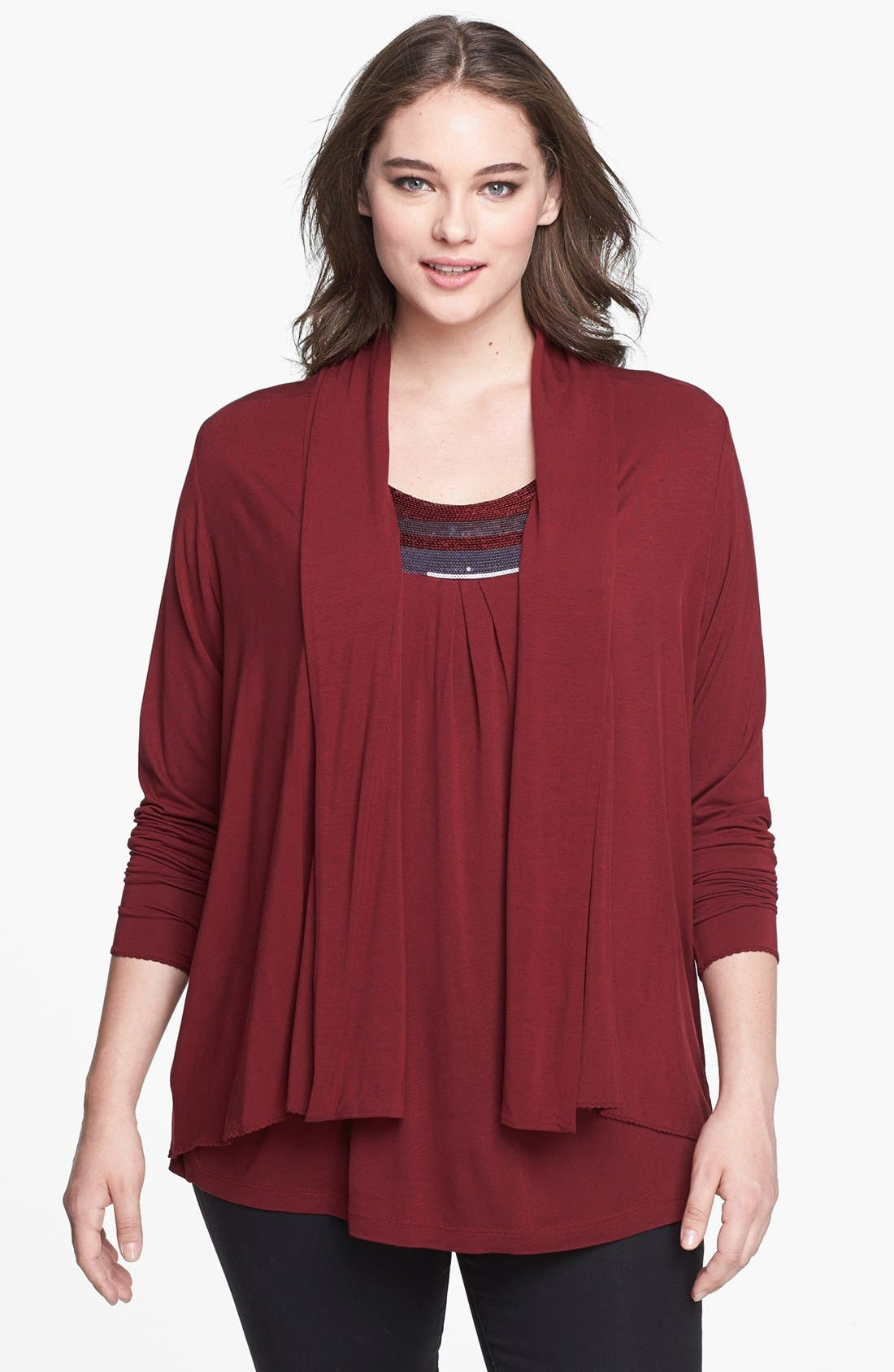 Alternate Image 1 Selected - Kische Open Front Knit Cardigan (Plus Size)