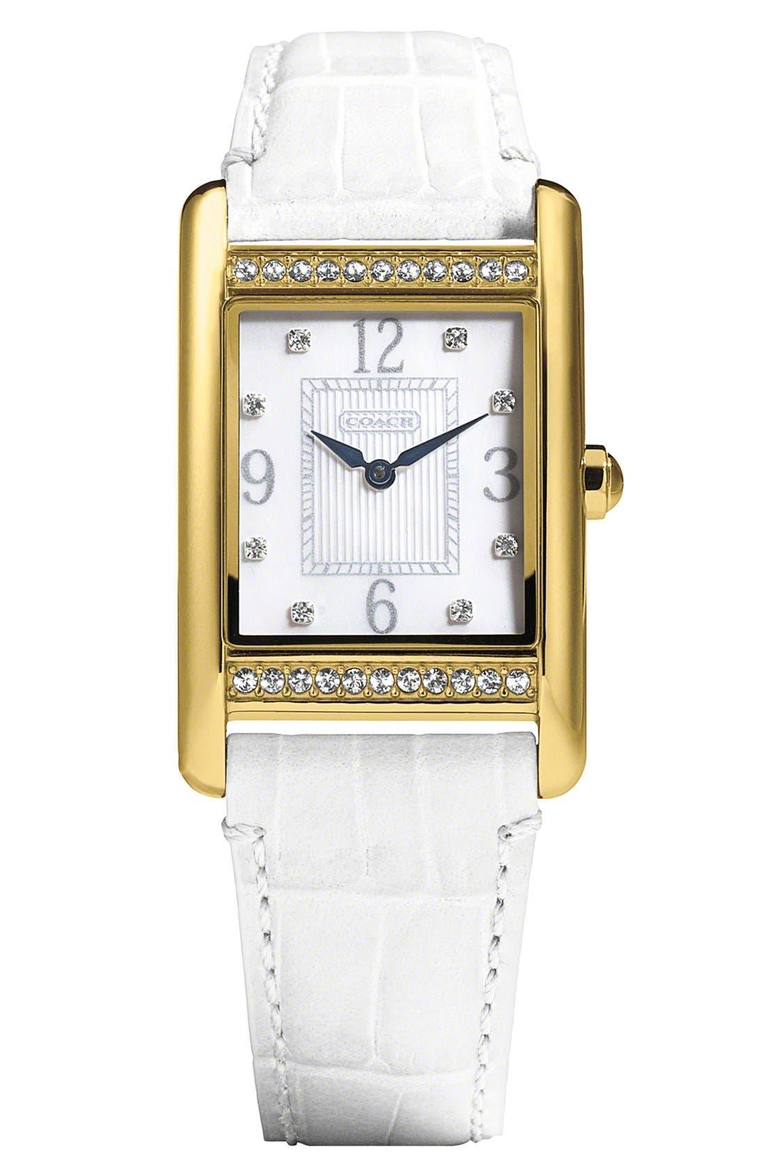Alternate Image 1 Selected - COACH 'Lexington' Crystal Bezel Watch, 25mm x 30mm
