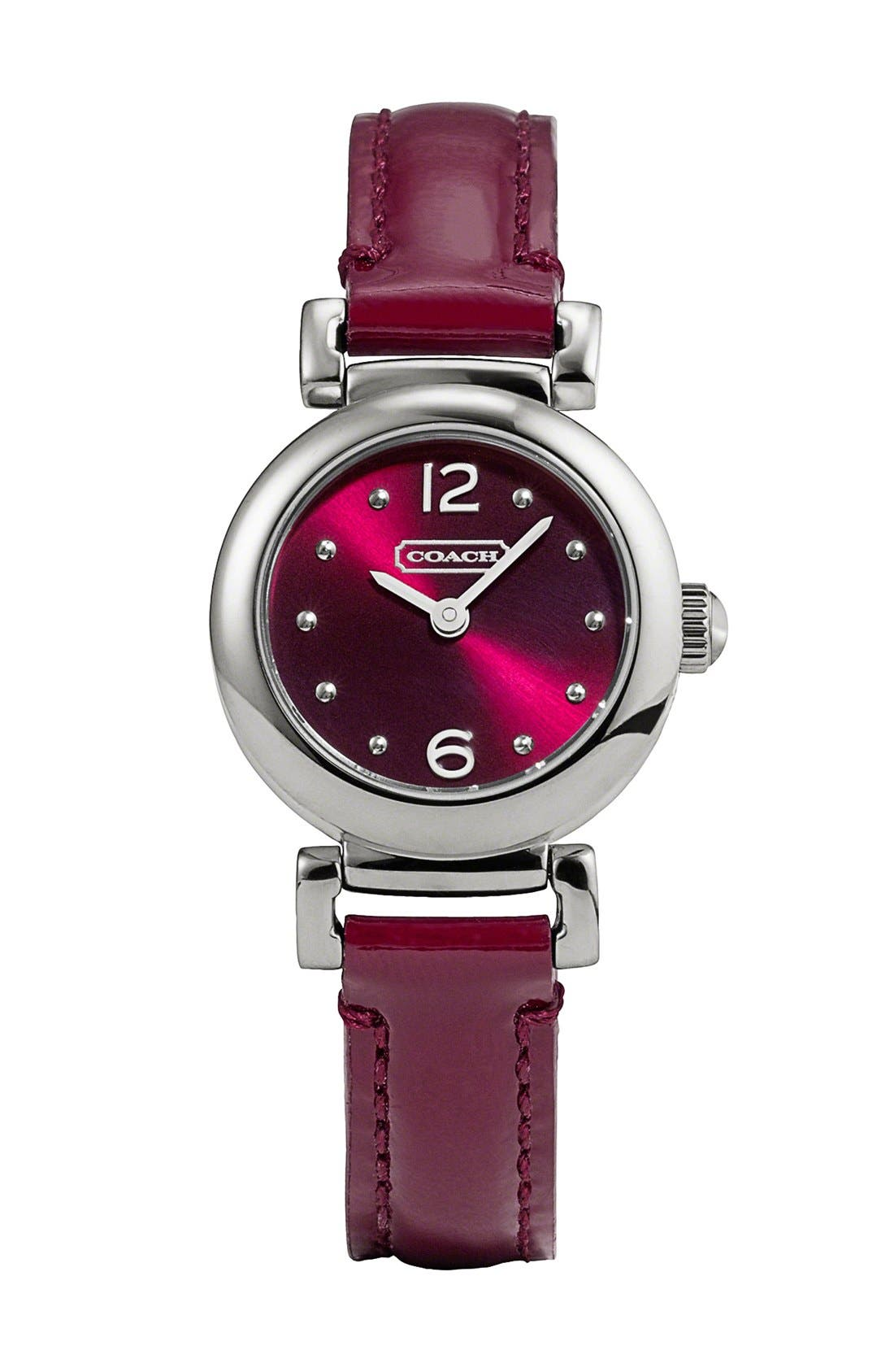 Main Image - COACH 'Madison' Round Leather Strap Watch, 23mm