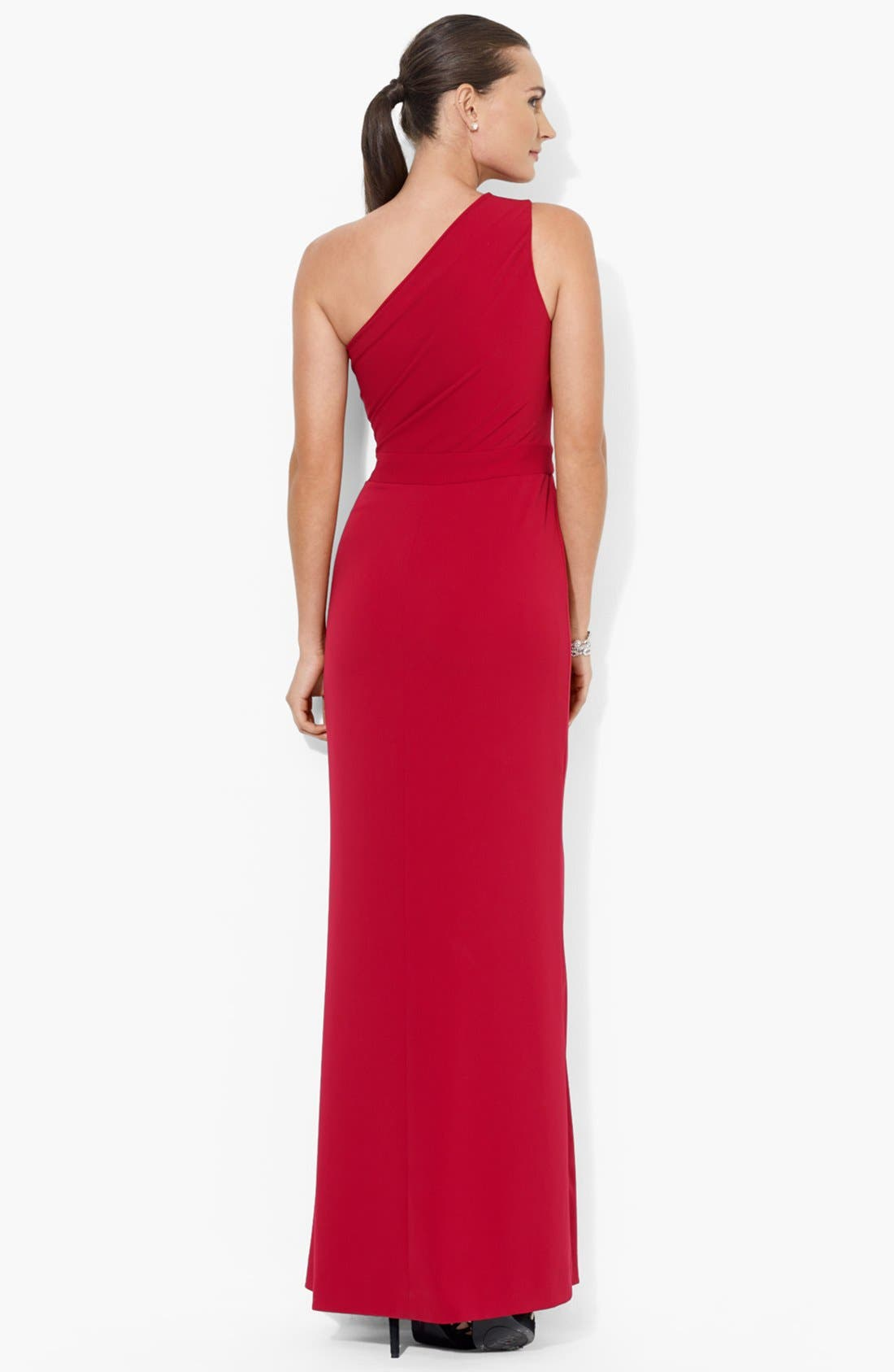 Alternate Image 2  - Lauren Ralph Lauren Embellished One-Shoulder Gown