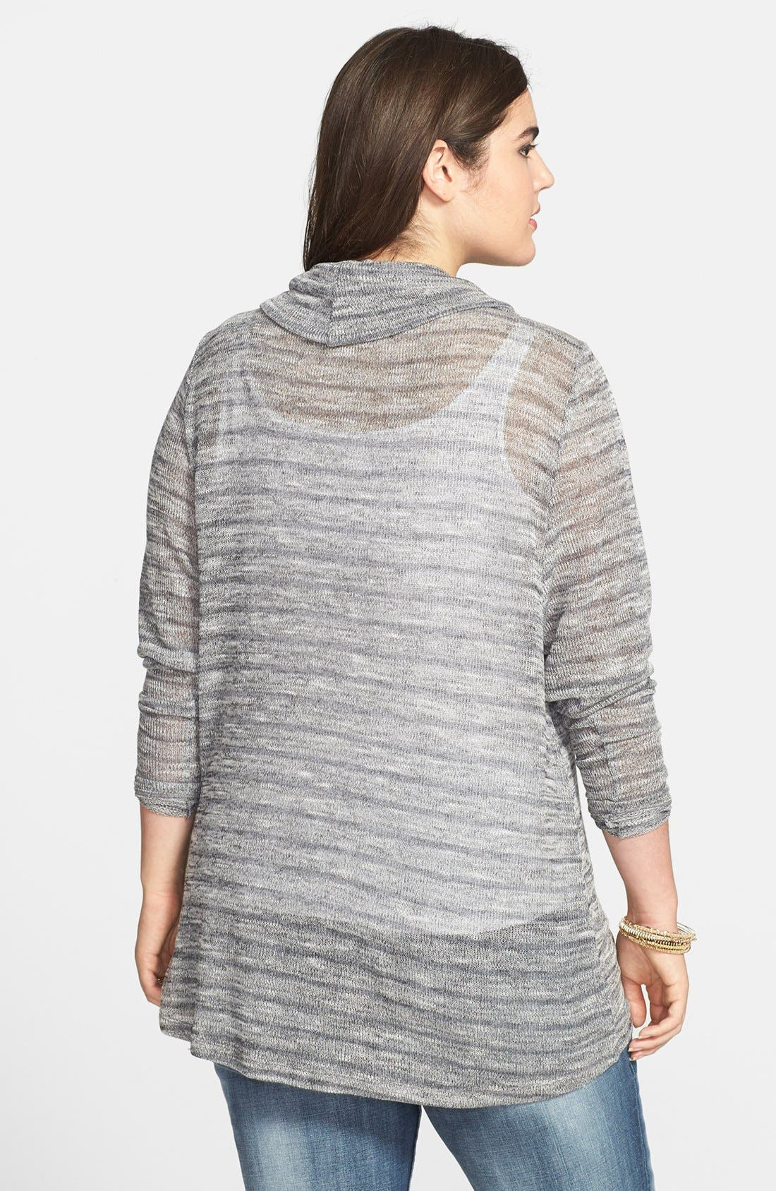 Alternate Image 2  - Jessica Simpson 'Freeda Haatchi' Stripe Cowl Neck Sweater (Plus Size)
